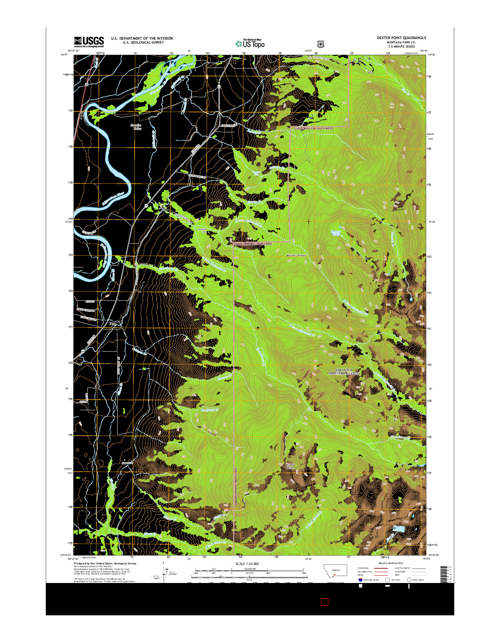 USGS US TOPO 7.5-MINUTE MAP FOR DEXTER POINT, MT 2014