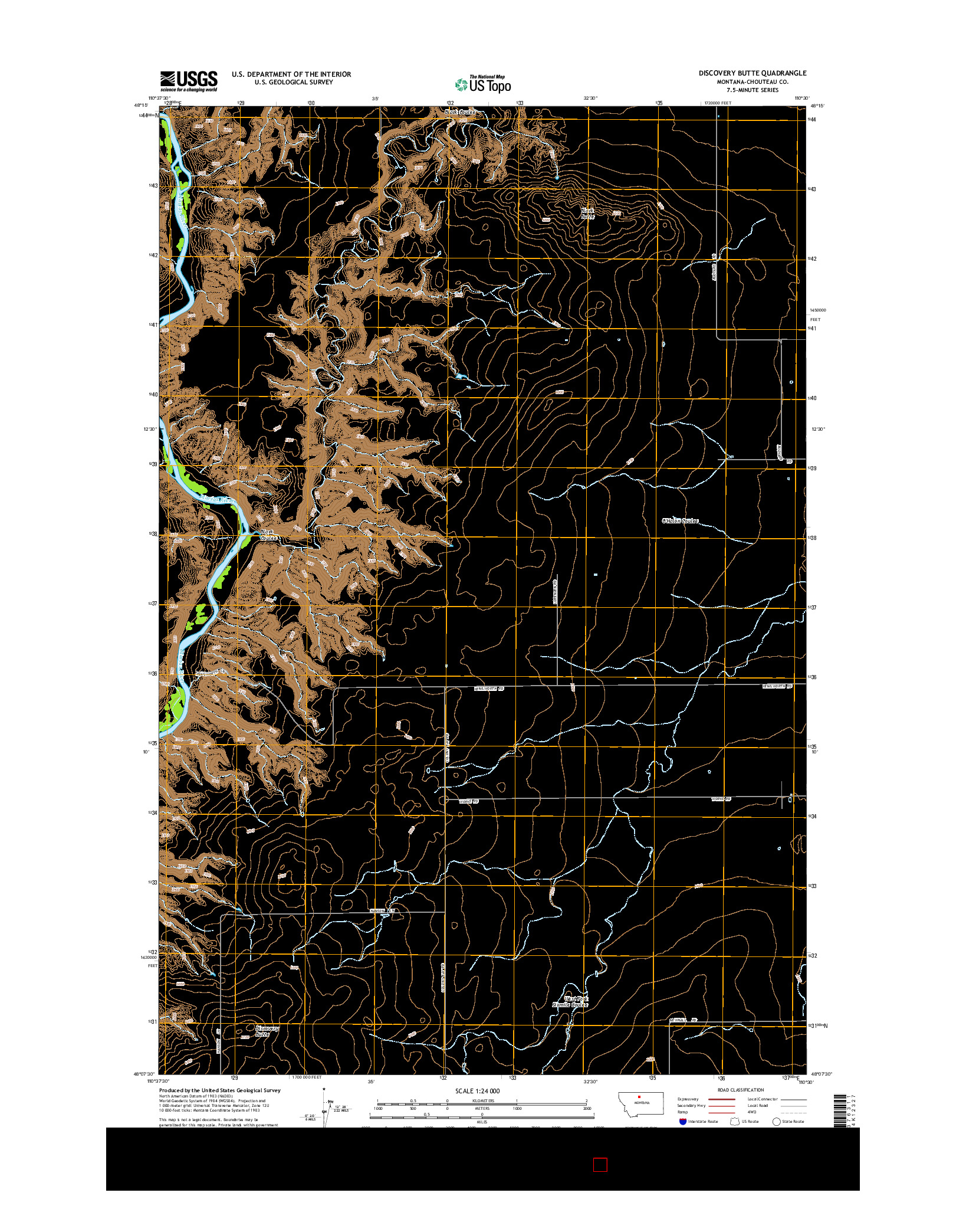USGS US TOPO 7.5-MINUTE MAP FOR DISCOVERY BUTTE, MT 2014