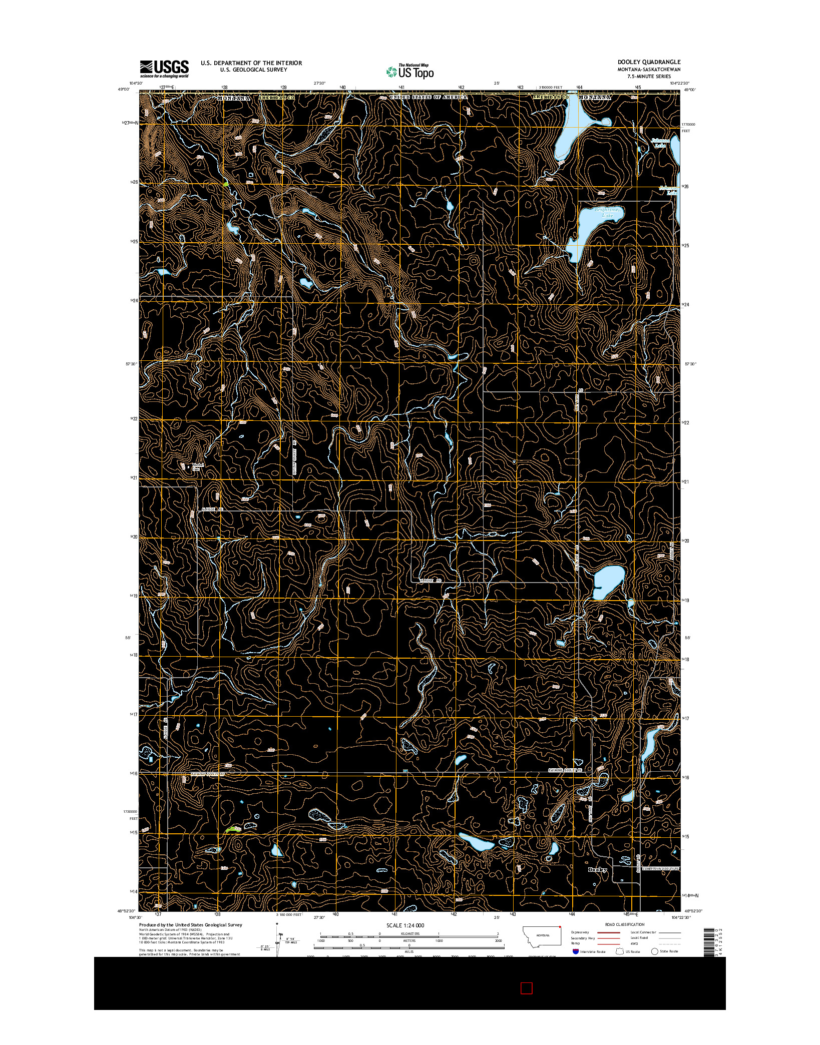 USGS US TOPO 7.5-MINUTE MAP FOR DOOLEY, MT-SK 2014