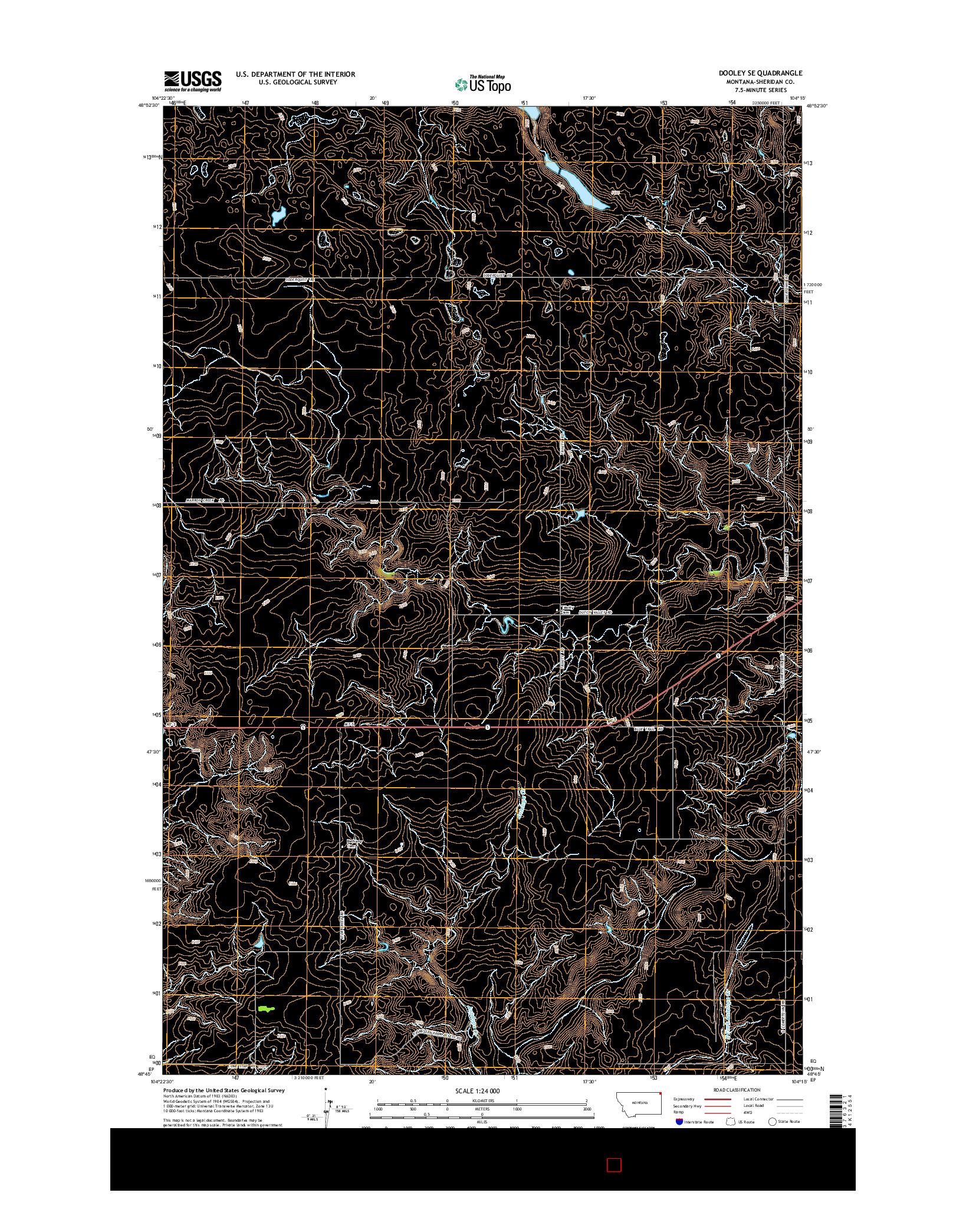 USGS US TOPO 7.5-MINUTE MAP FOR DOOLEY SE, MT 2014