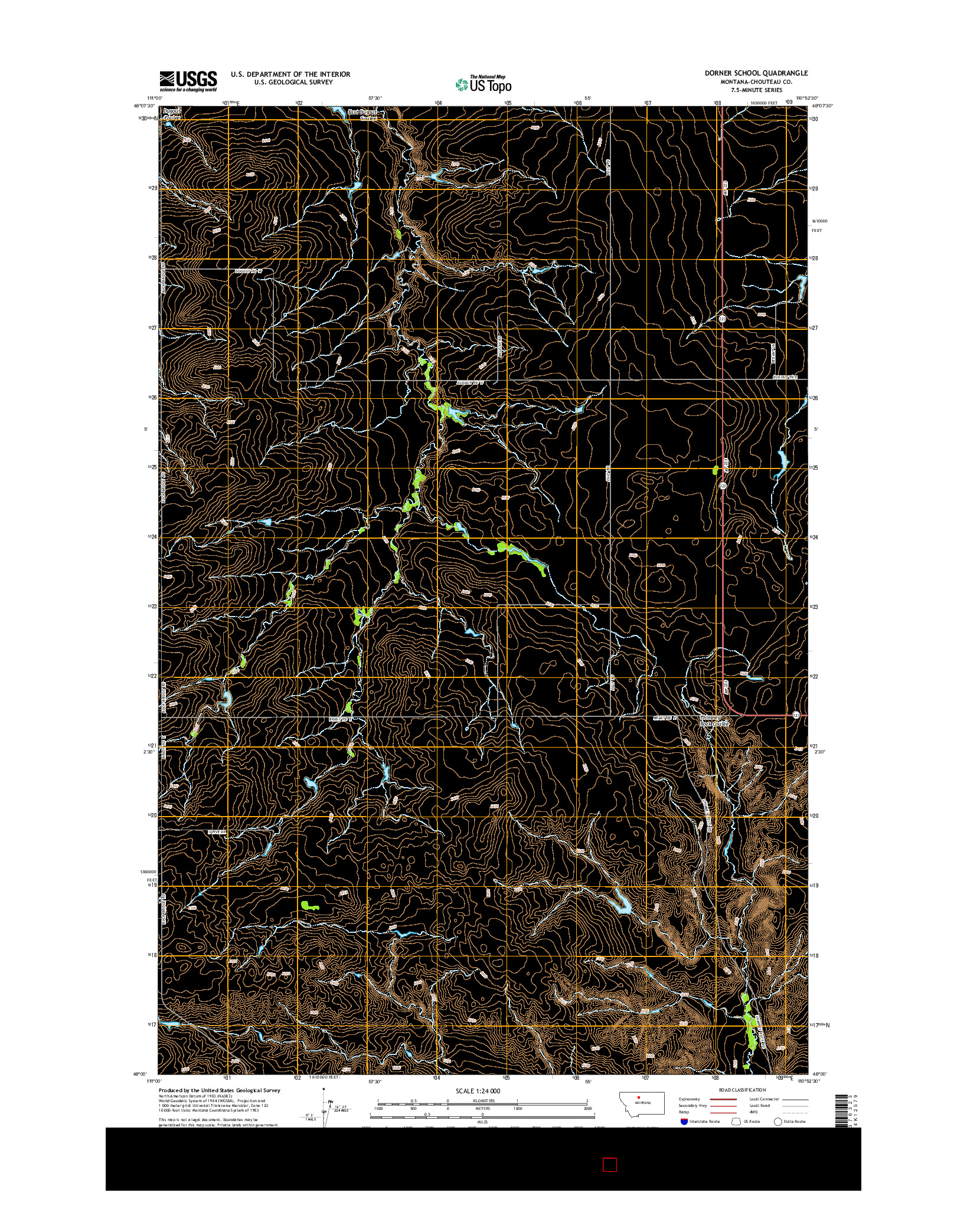 USGS US TOPO 7.5-MINUTE MAP FOR DORNER SCHOOL, MT 2014
