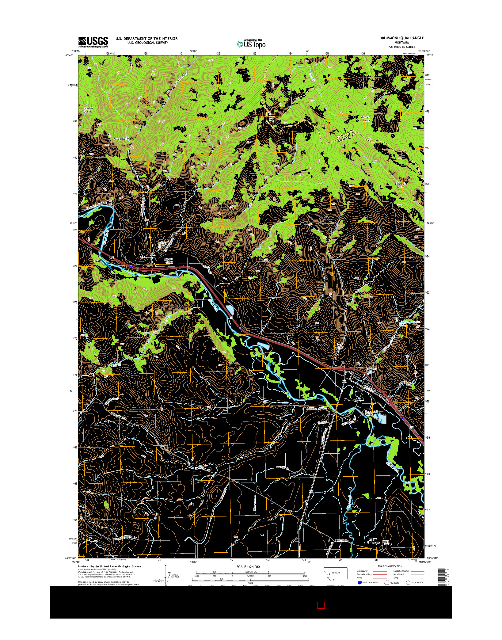 USGS US TOPO 7.5-MINUTE MAP FOR DRUMMOND, MT 2014