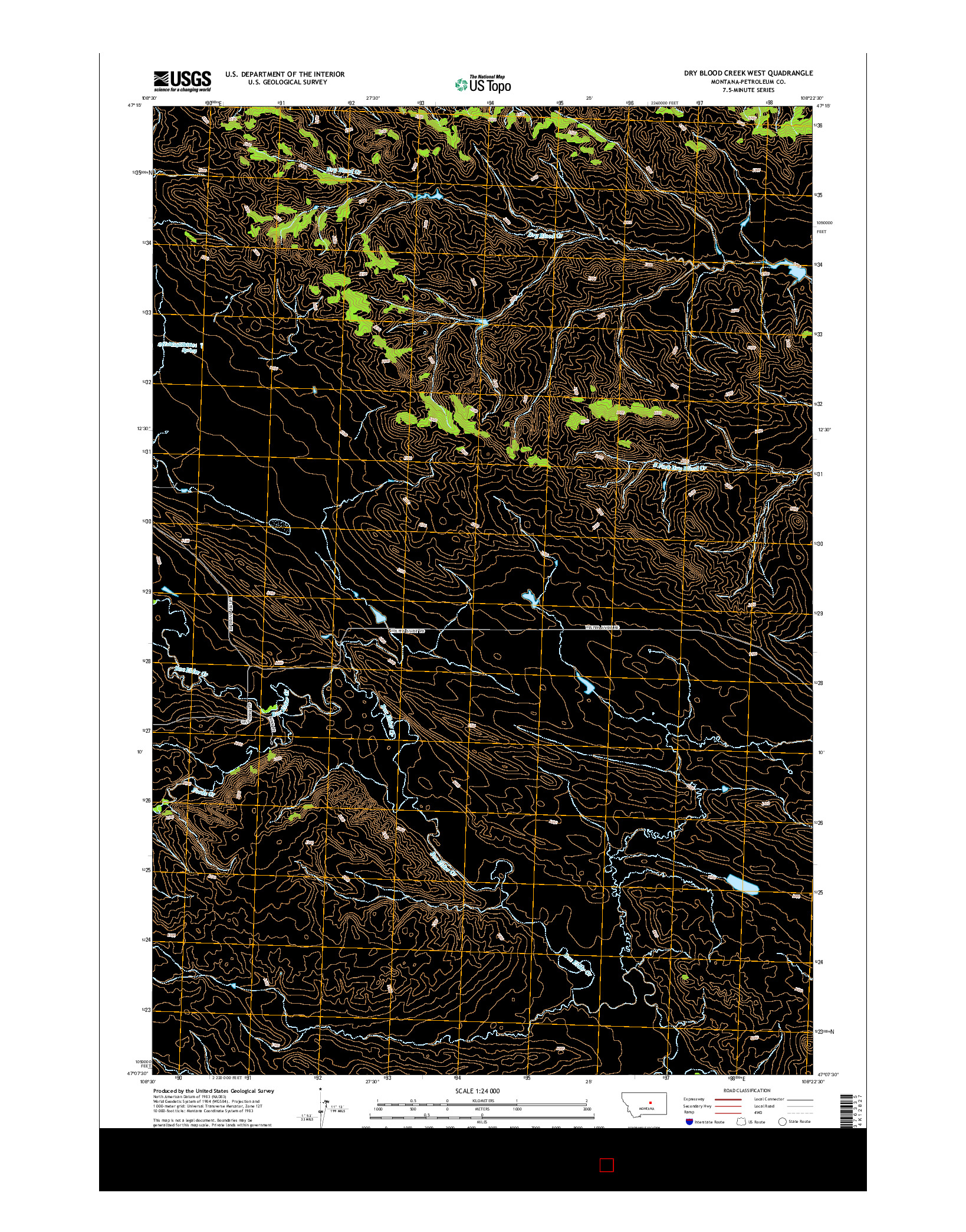 USGS US TOPO 7.5-MINUTE MAP FOR DRY BLOOD CREEK WEST, MT 2014