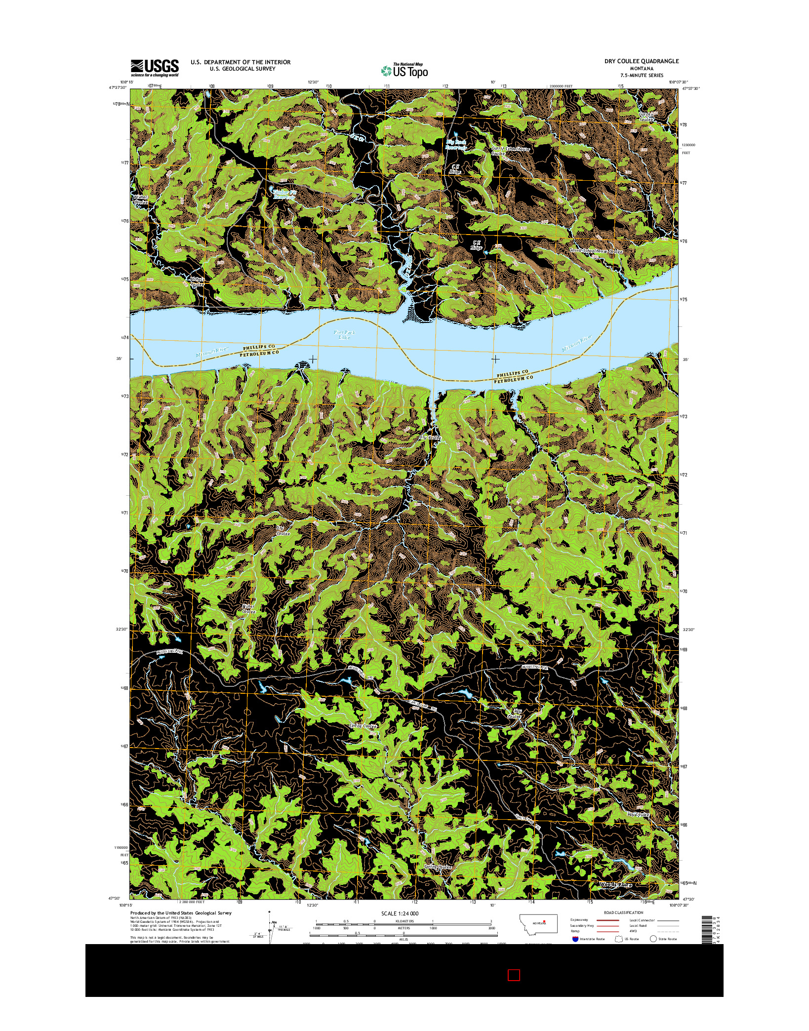 USGS US TOPO 7.5-MINUTE MAP FOR DRY COULEE, MT 2014
