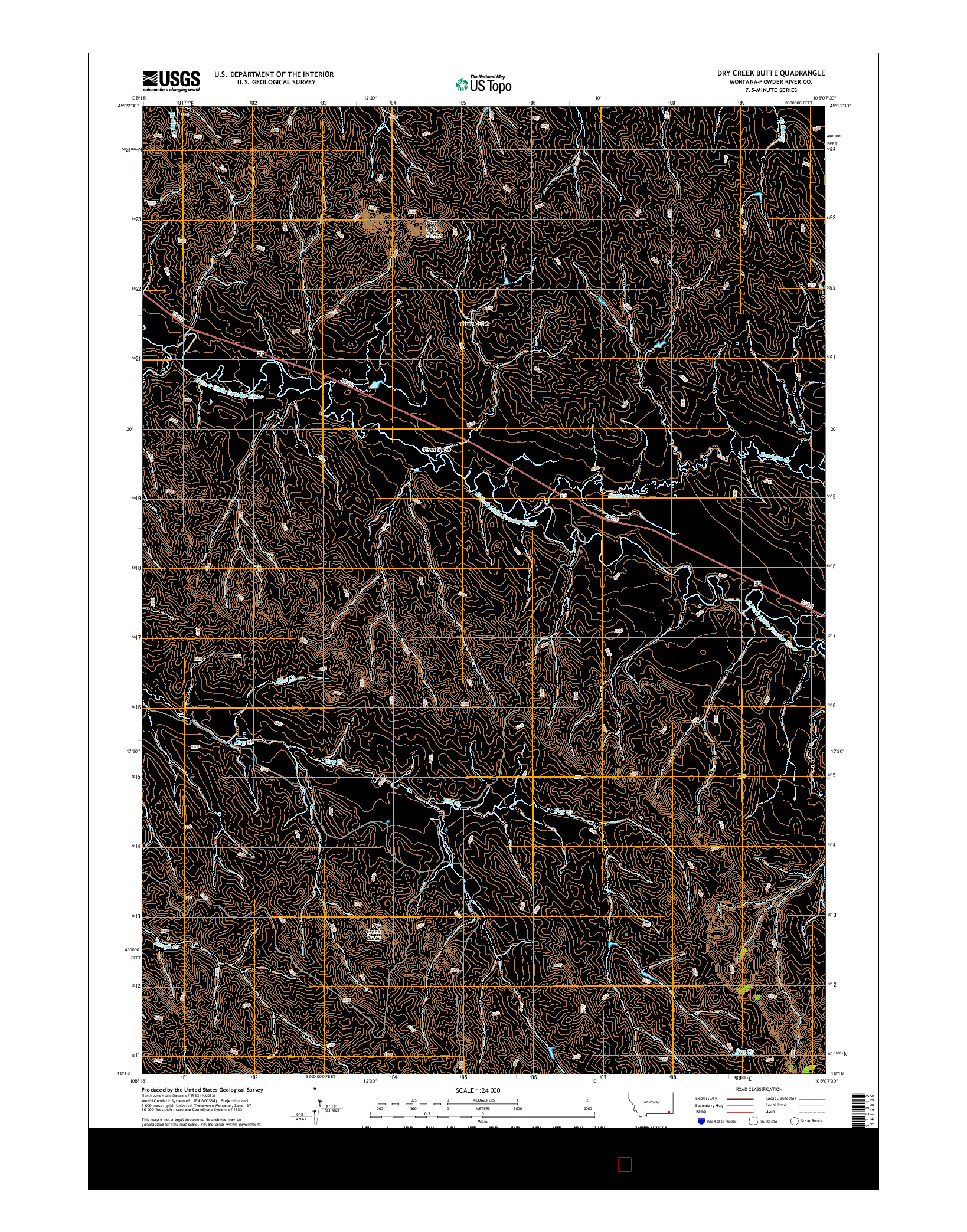 USGS US TOPO 7.5-MINUTE MAP FOR DRY CREEK BUTTE, MT 2014