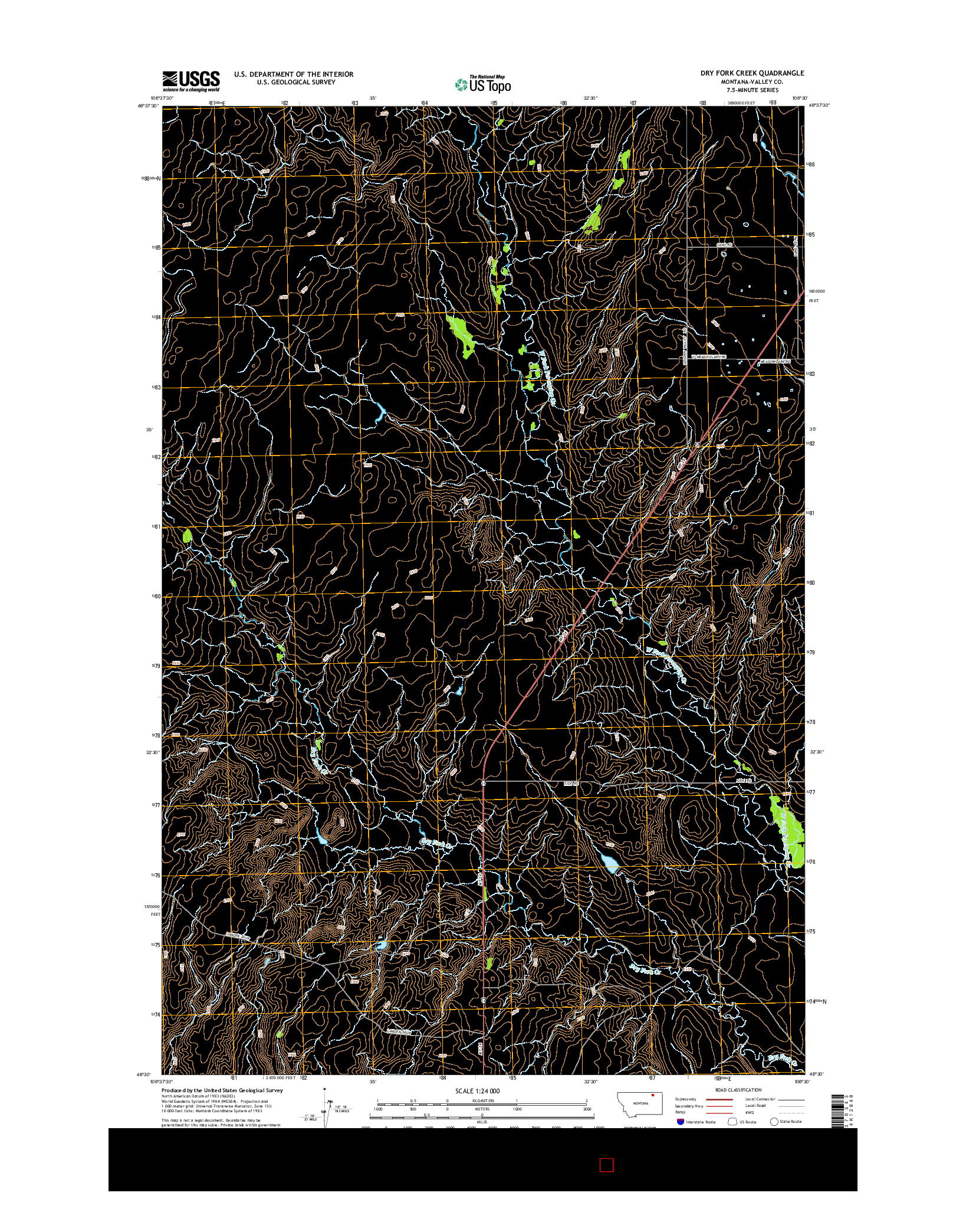 USGS US TOPO 7.5-MINUTE MAP FOR DRY FORK CREEK, MT 2014