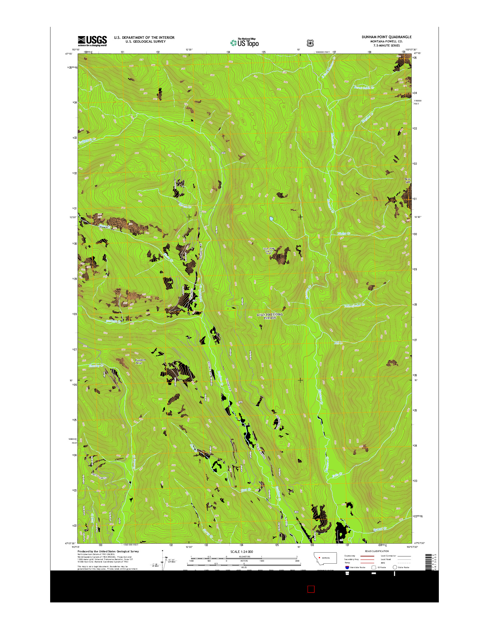 USGS US TOPO 7.5-MINUTE MAP FOR DUNHAM POINT, MT 2014