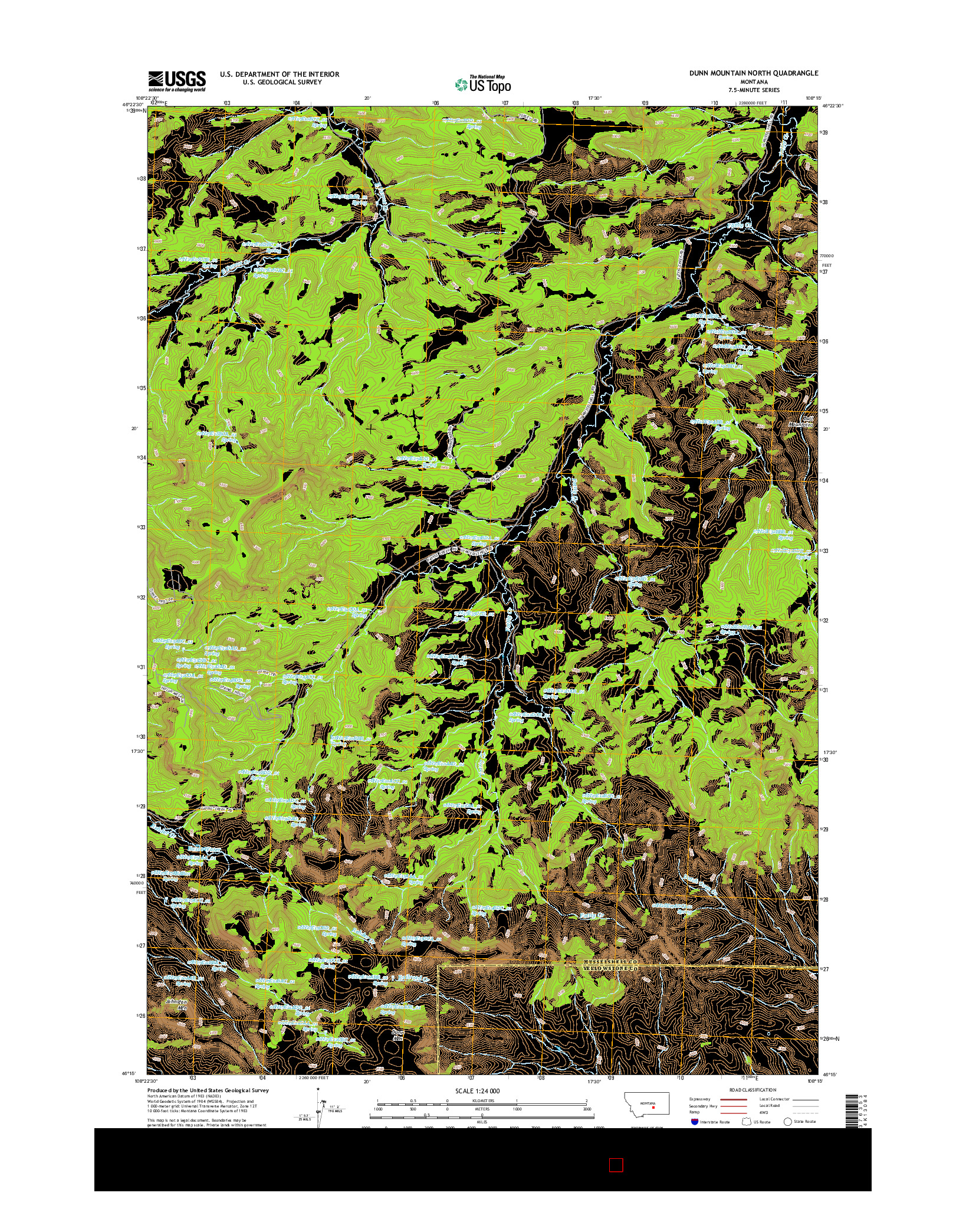 USGS US TOPO 7.5-MINUTE MAP FOR DUNN MOUNTAIN NORTH, MT 2014