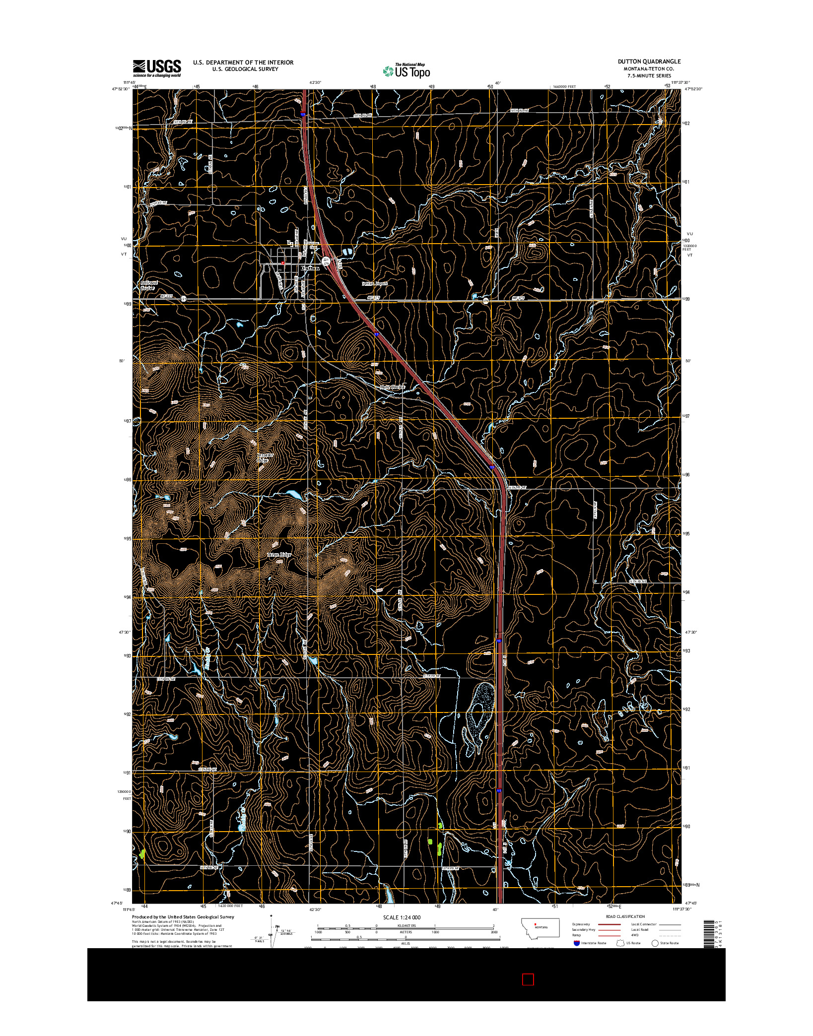 USGS US TOPO 7.5-MINUTE MAP FOR DUTTON, MT 2014