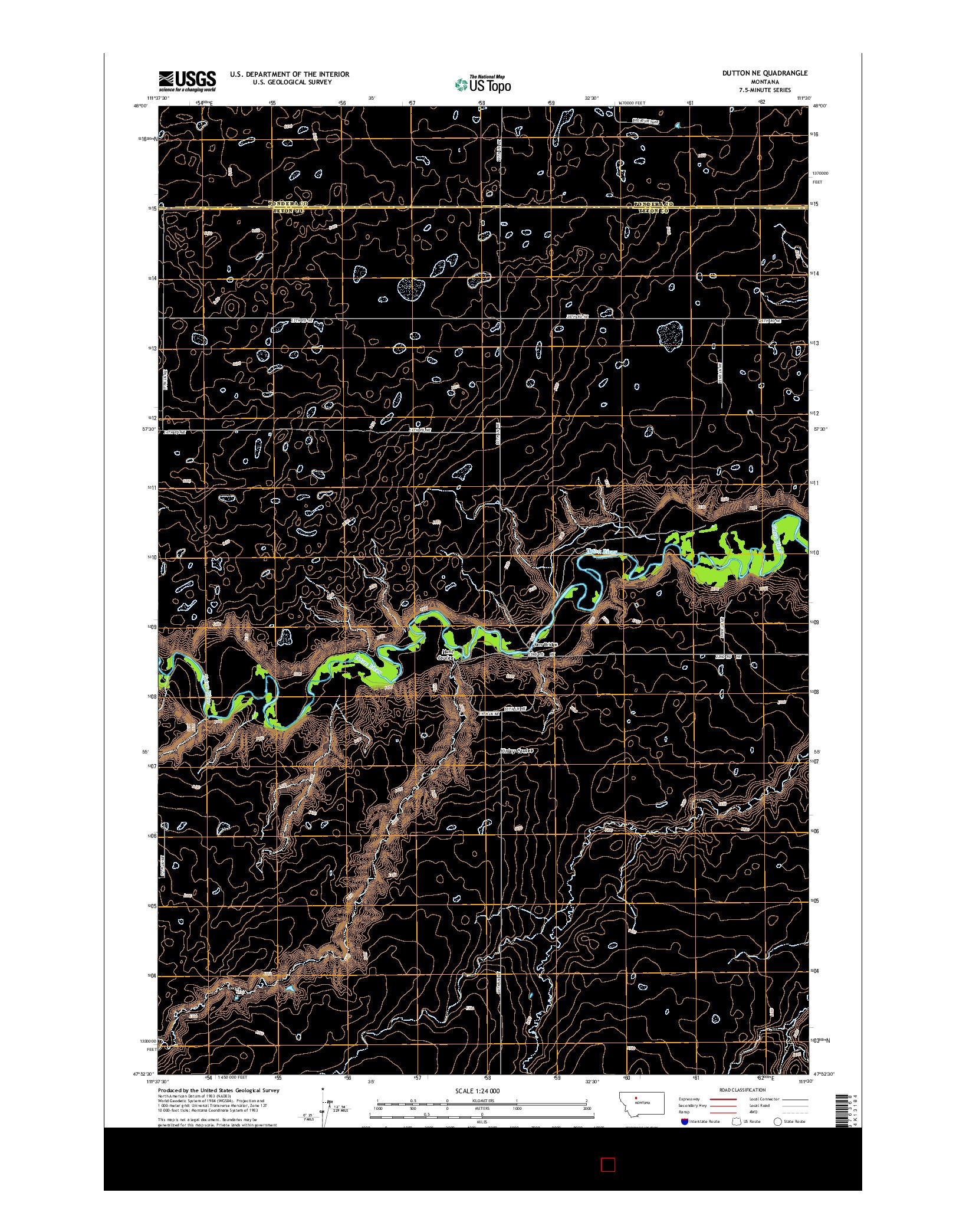 USGS US TOPO 7.5-MINUTE MAP FOR DUTTON NE, MT 2014