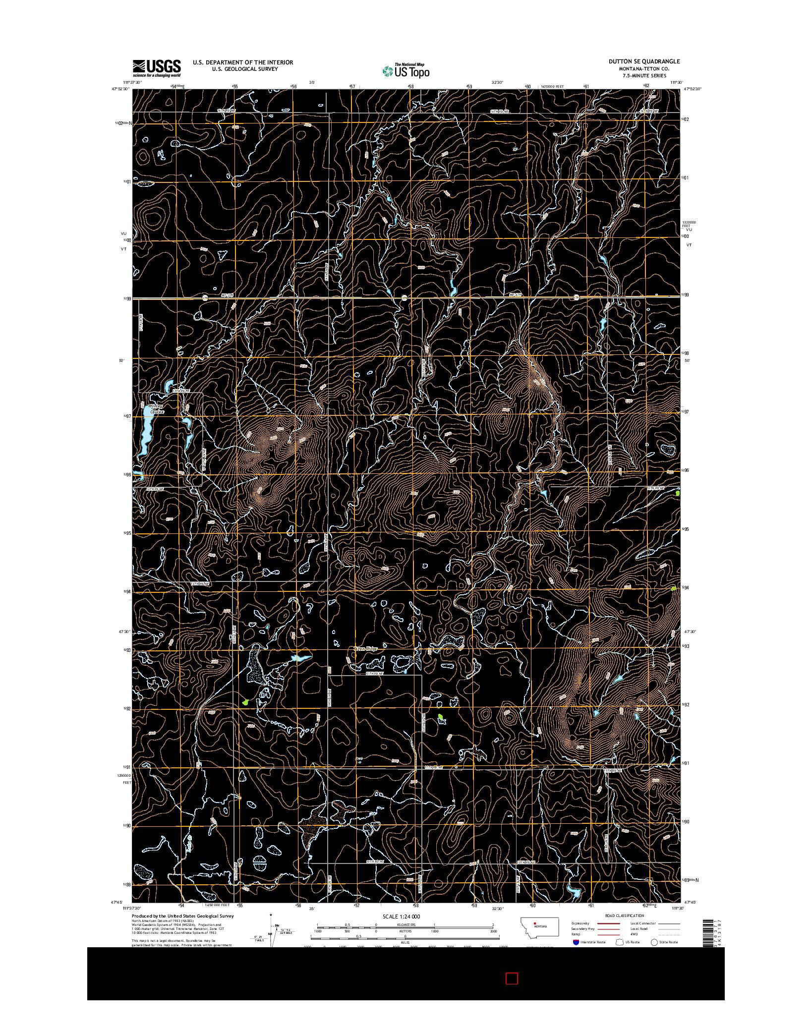 USGS US TOPO 7.5-MINUTE MAP FOR DUTTON SE, MT 2014
