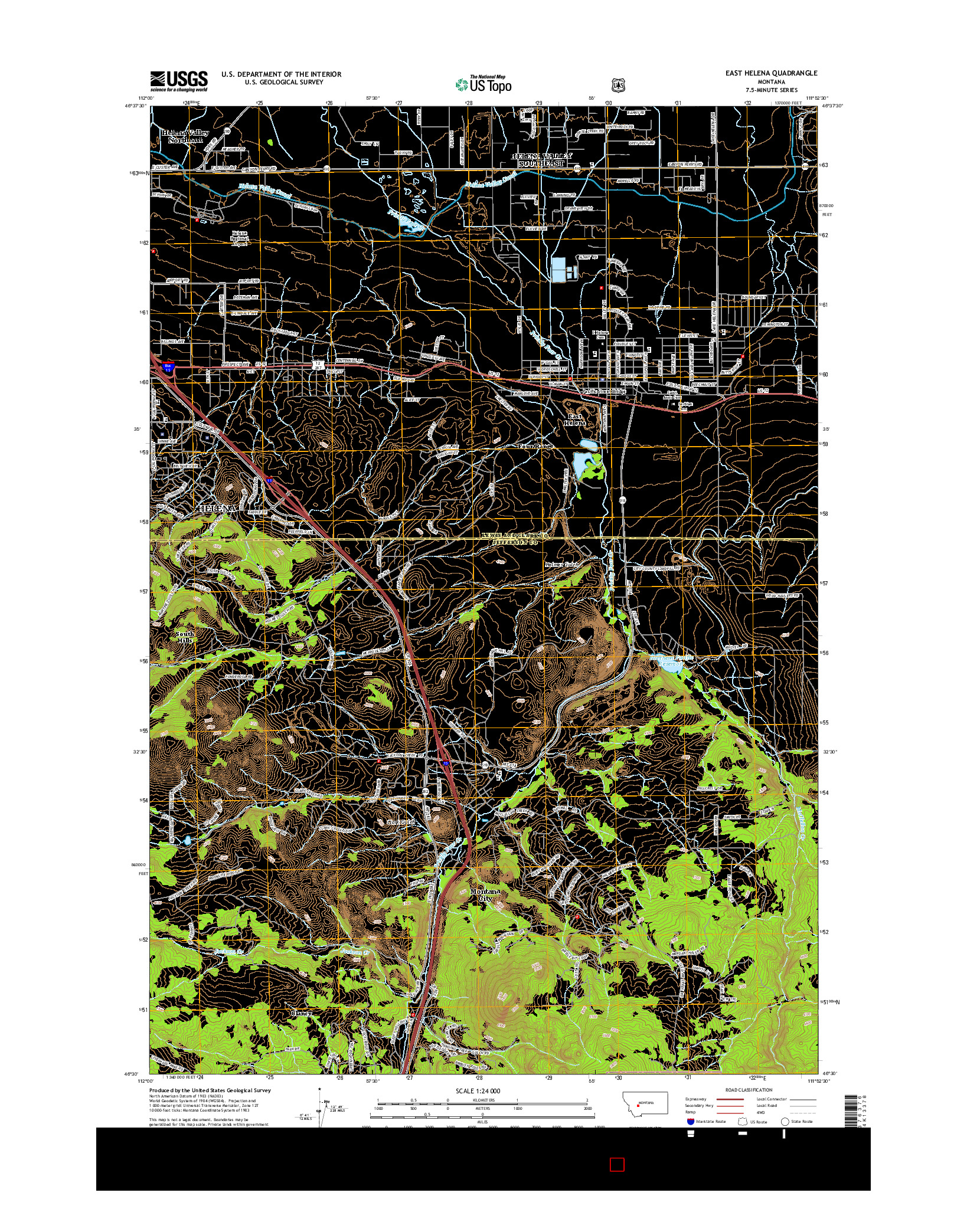 USGS US TOPO 7.5-MINUTE MAP FOR EAST HELENA, MT 2014