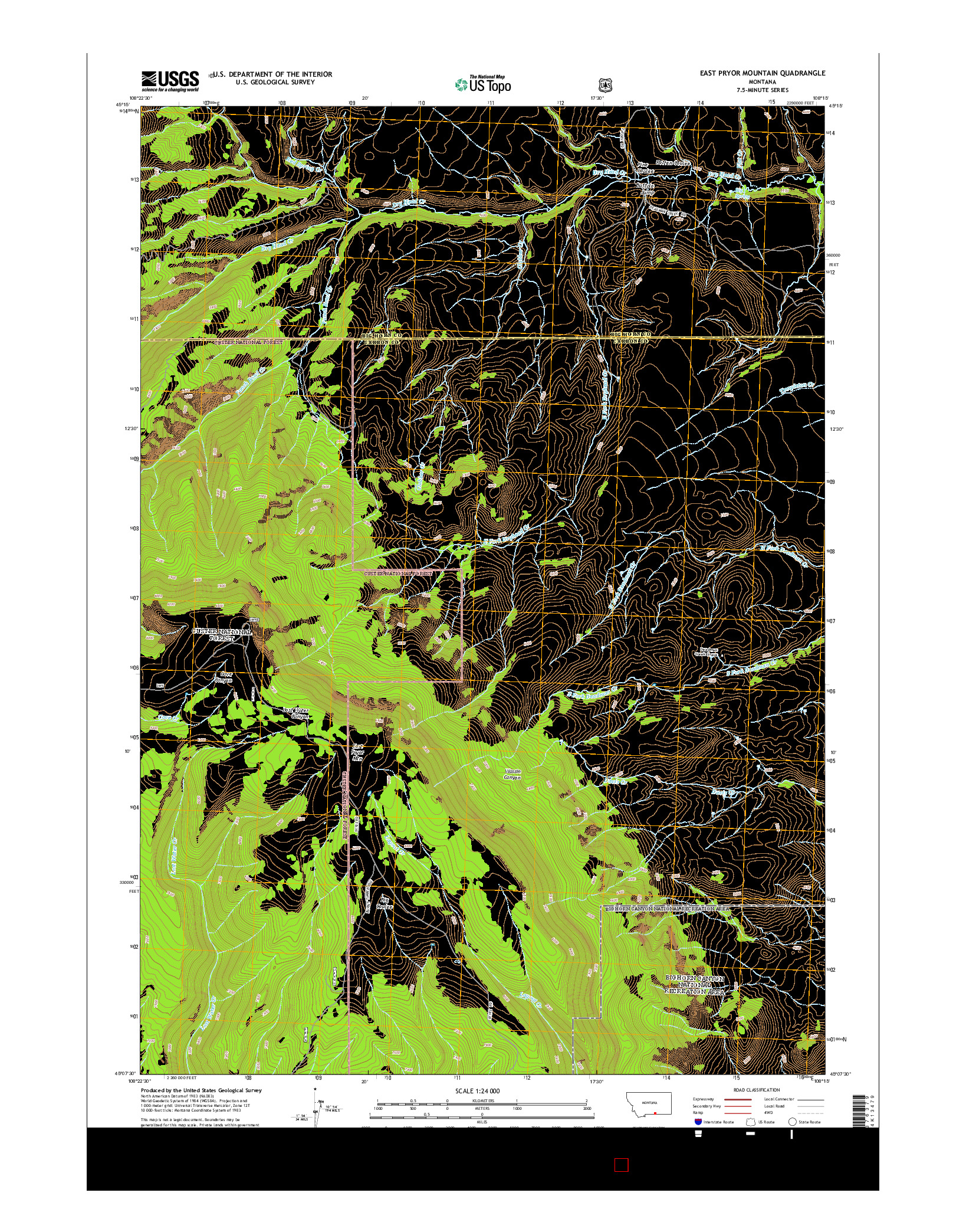 USGS US TOPO 7.5-MINUTE MAP FOR EAST PRYOR MOUNTAIN, MT 2014