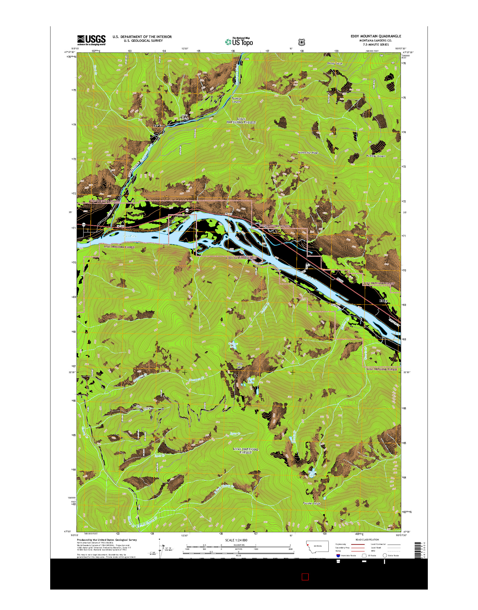 USGS US TOPO 7.5-MINUTE MAP FOR EDDY MOUNTAIN, MT 2014