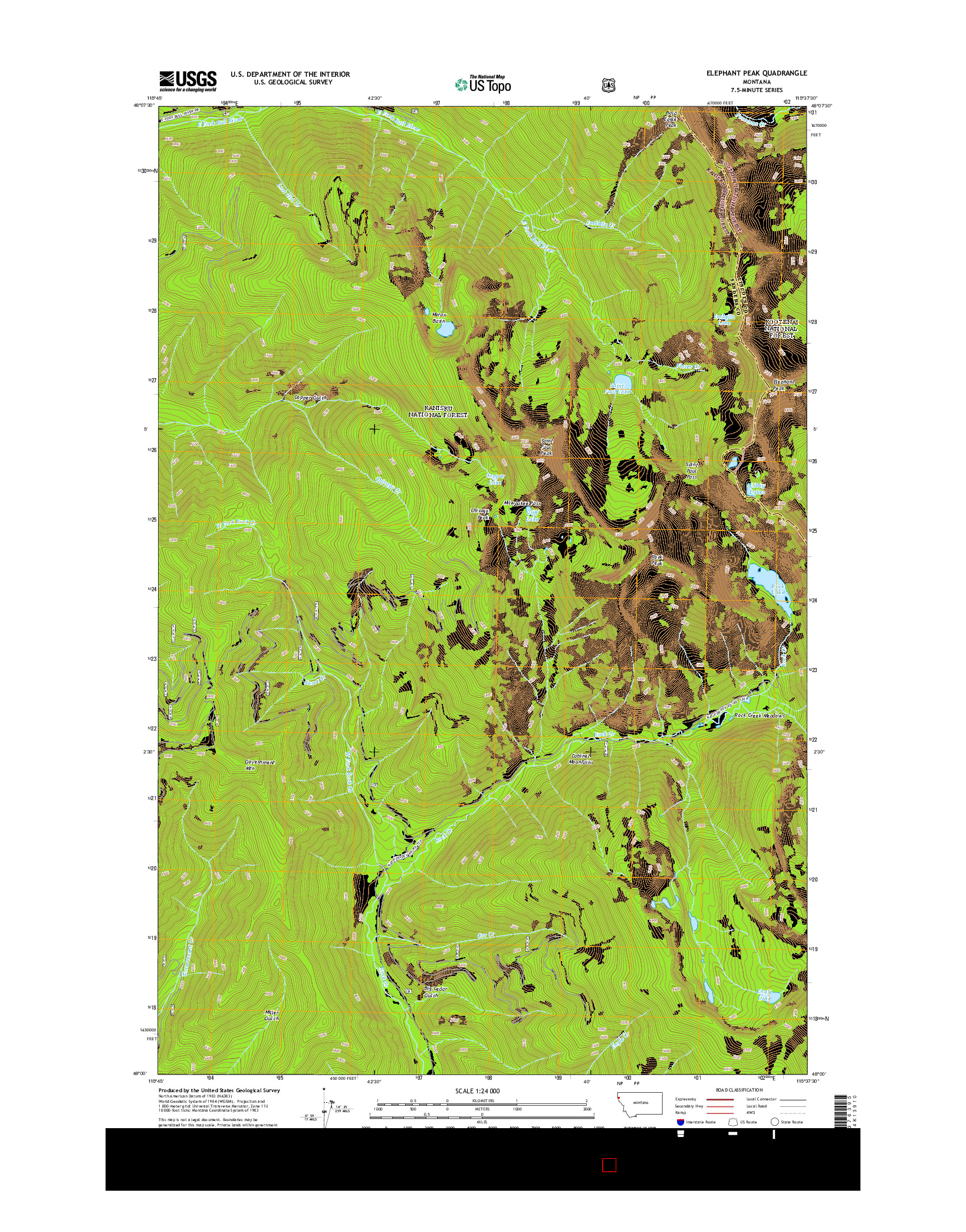 USGS US TOPO 7.5-MINUTE MAP FOR ELEPHANT PEAK, MT 2014