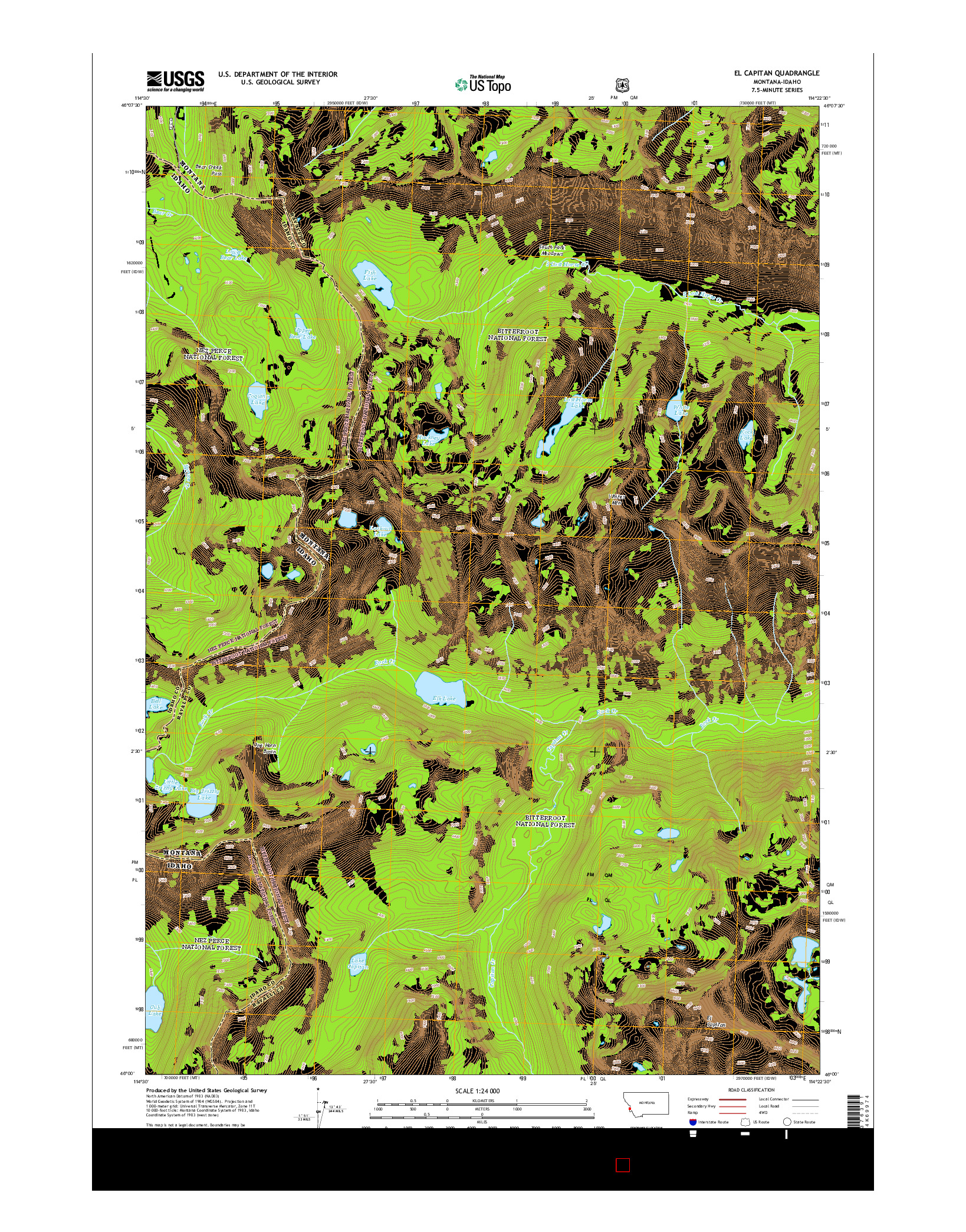 USGS US TOPO 7.5-MINUTE MAP FOR EL CAPITAN, MT-ID 2014