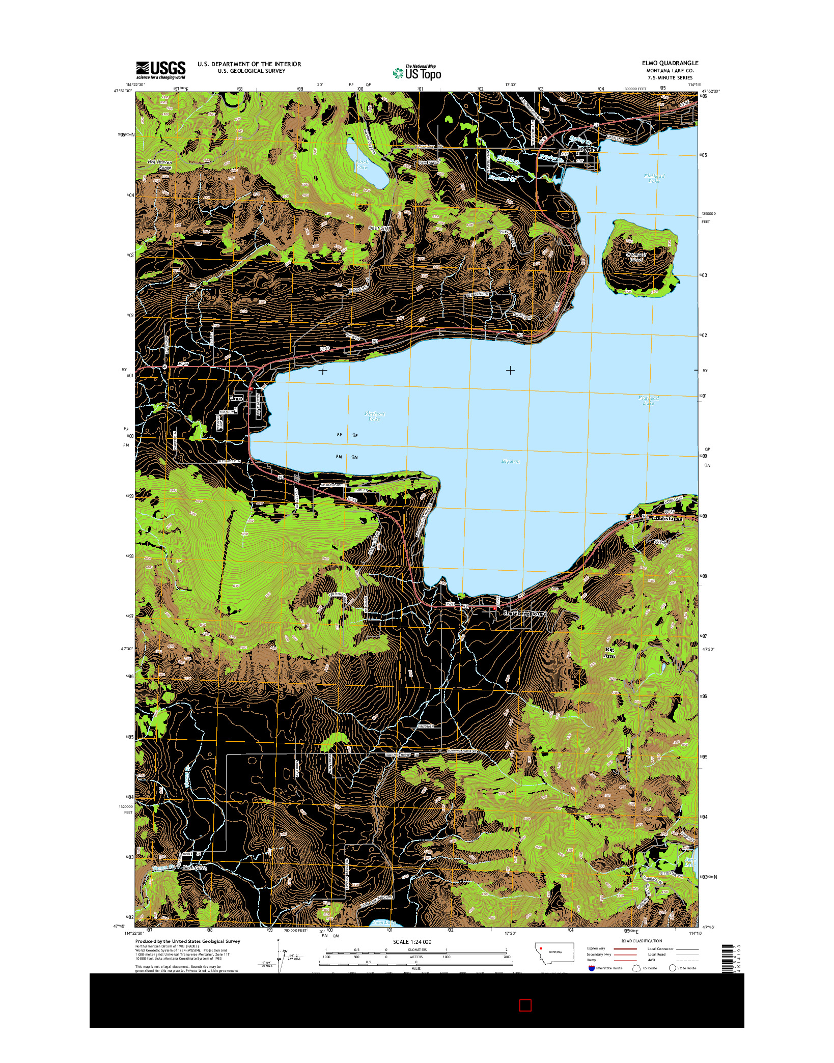 USGS US TOPO 7.5-MINUTE MAP FOR ELMO, MT 2014