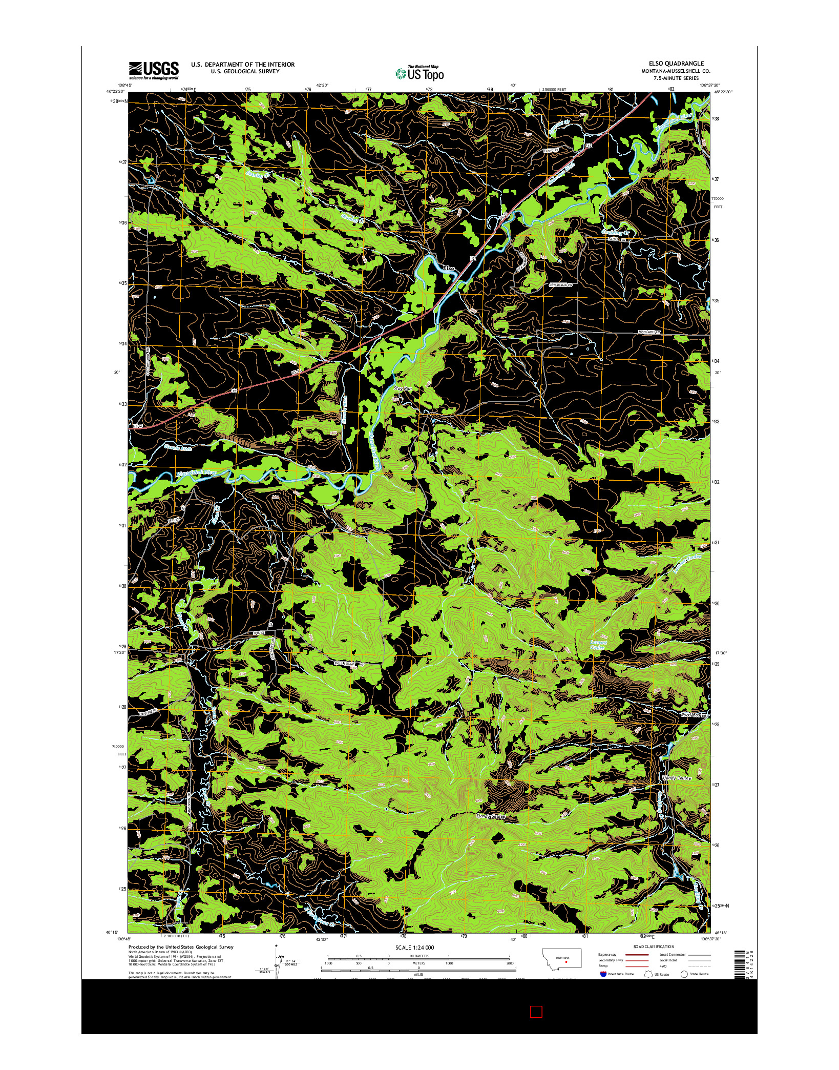 USGS US TOPO 7.5-MINUTE MAP FOR ELSO, MT 2014