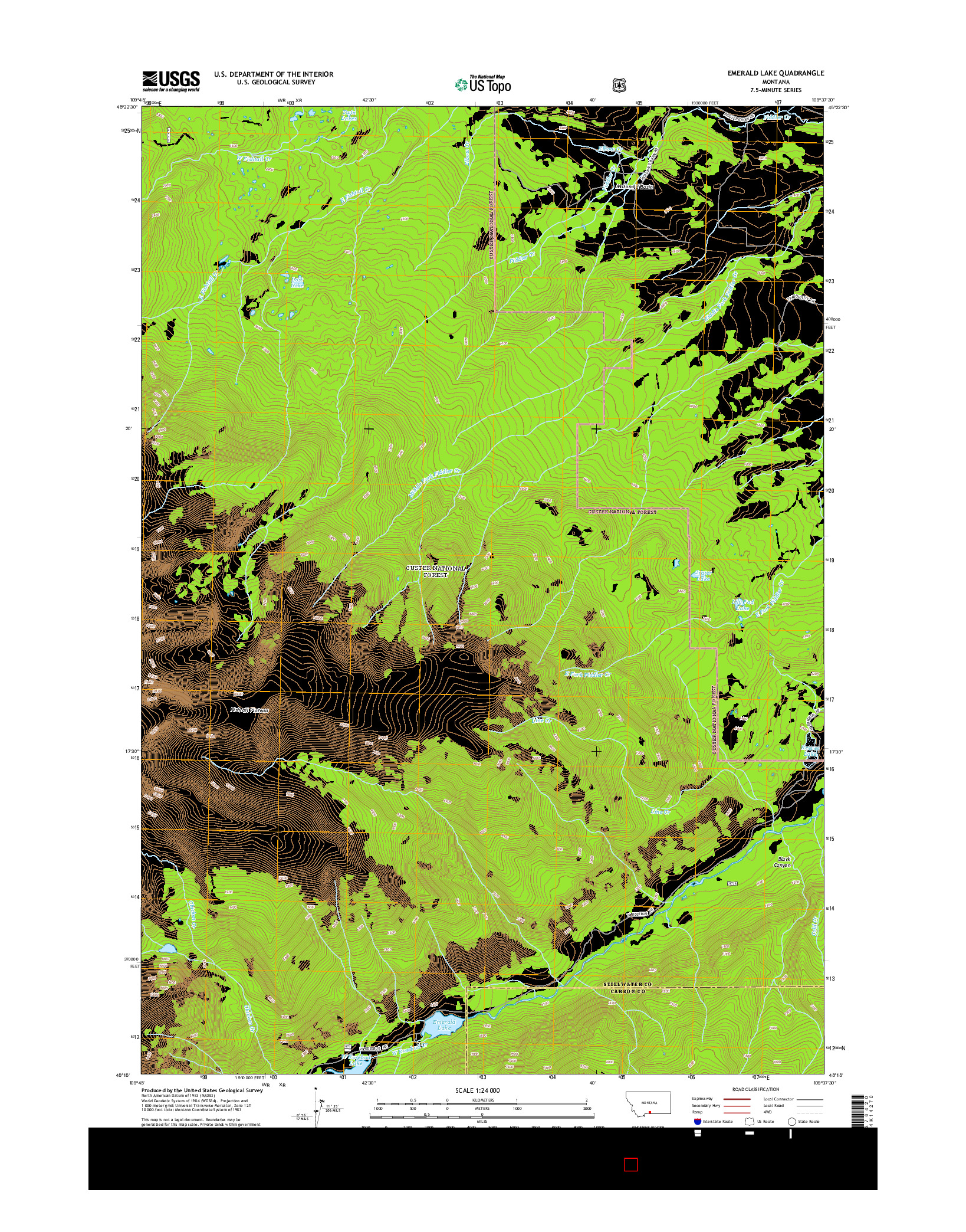 USGS US TOPO 7.5-MINUTE MAP FOR EMERALD LAKE, MT 2014