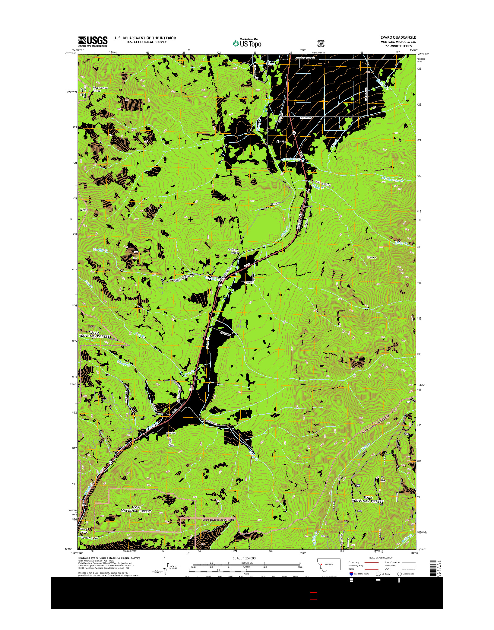 USGS US TOPO 7.5-MINUTE MAP FOR EVARO, MT 2014