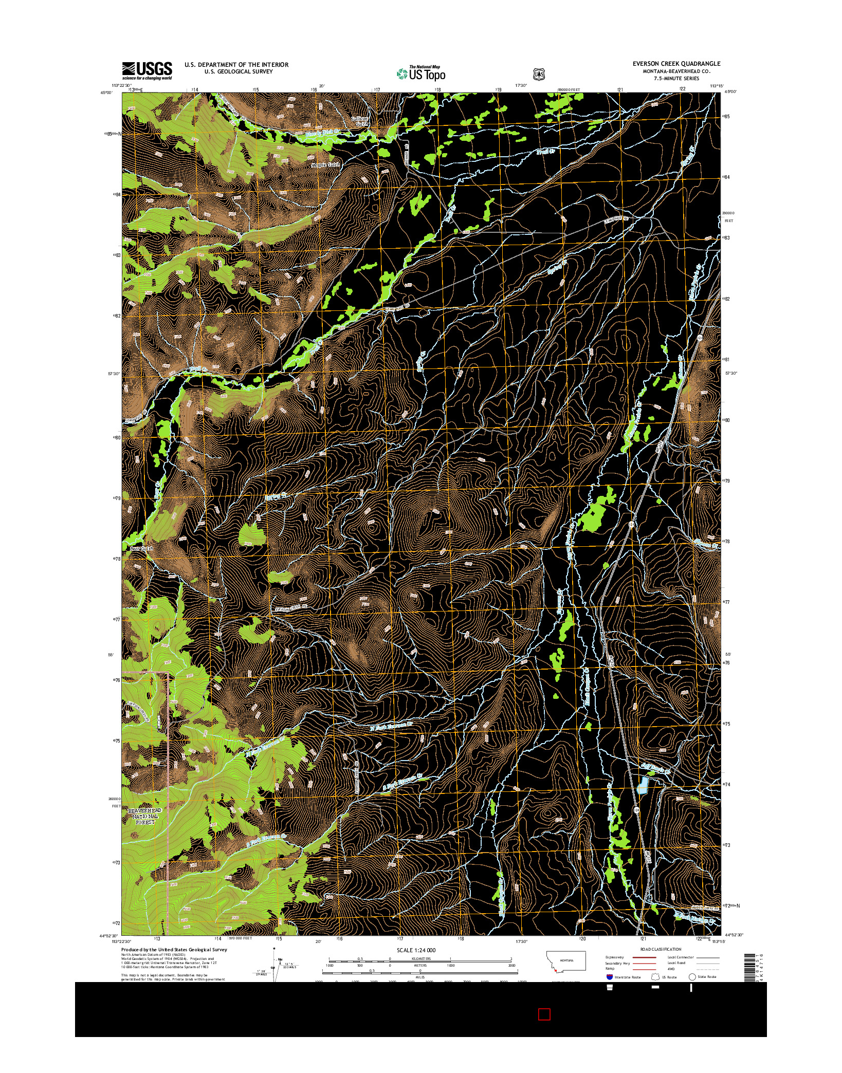 USGS US TOPO 7.5-MINUTE MAP FOR EVERSON CREEK, MT 2014