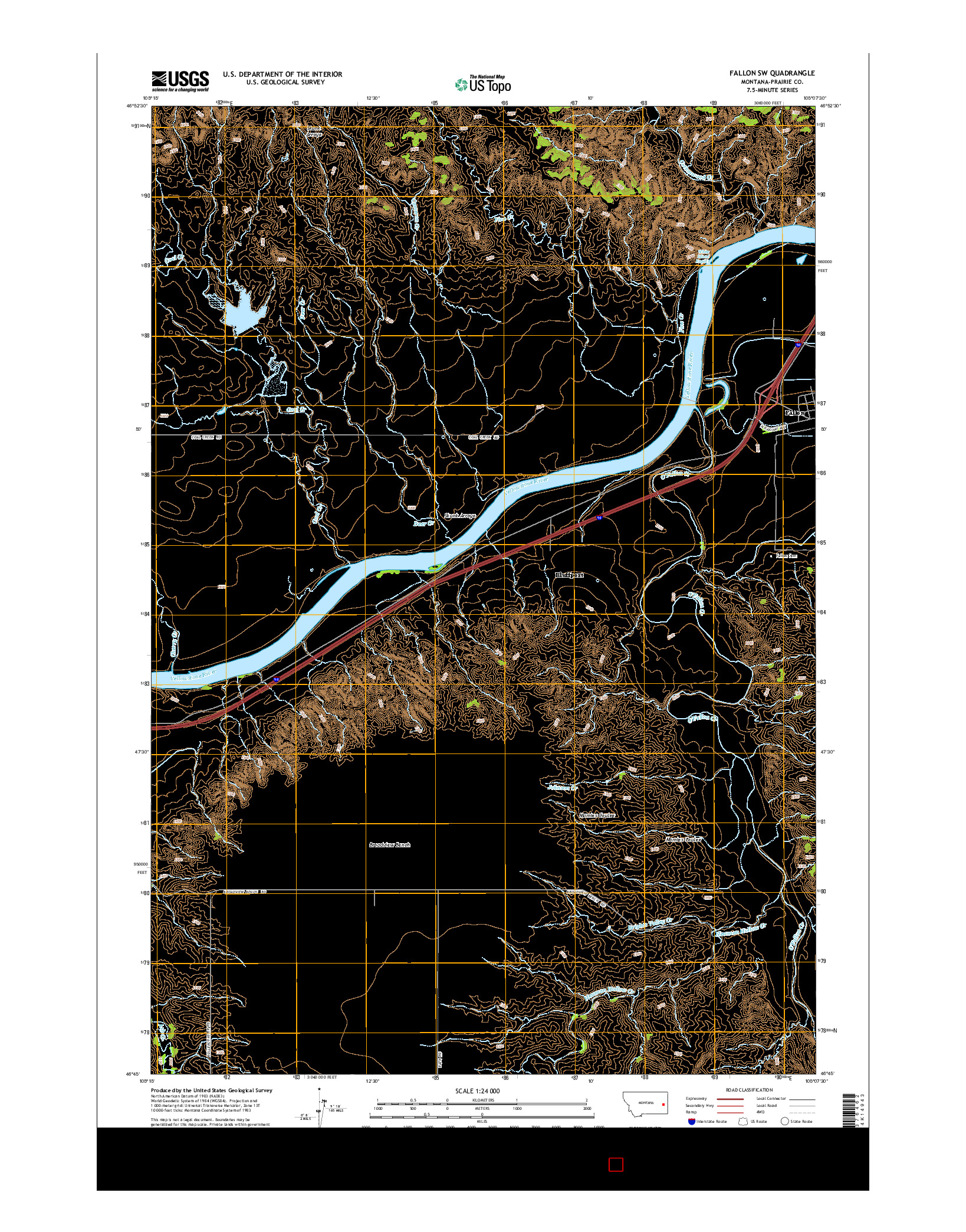 USGS US TOPO 7.5-MINUTE MAP FOR FALLON SW, MT 2014