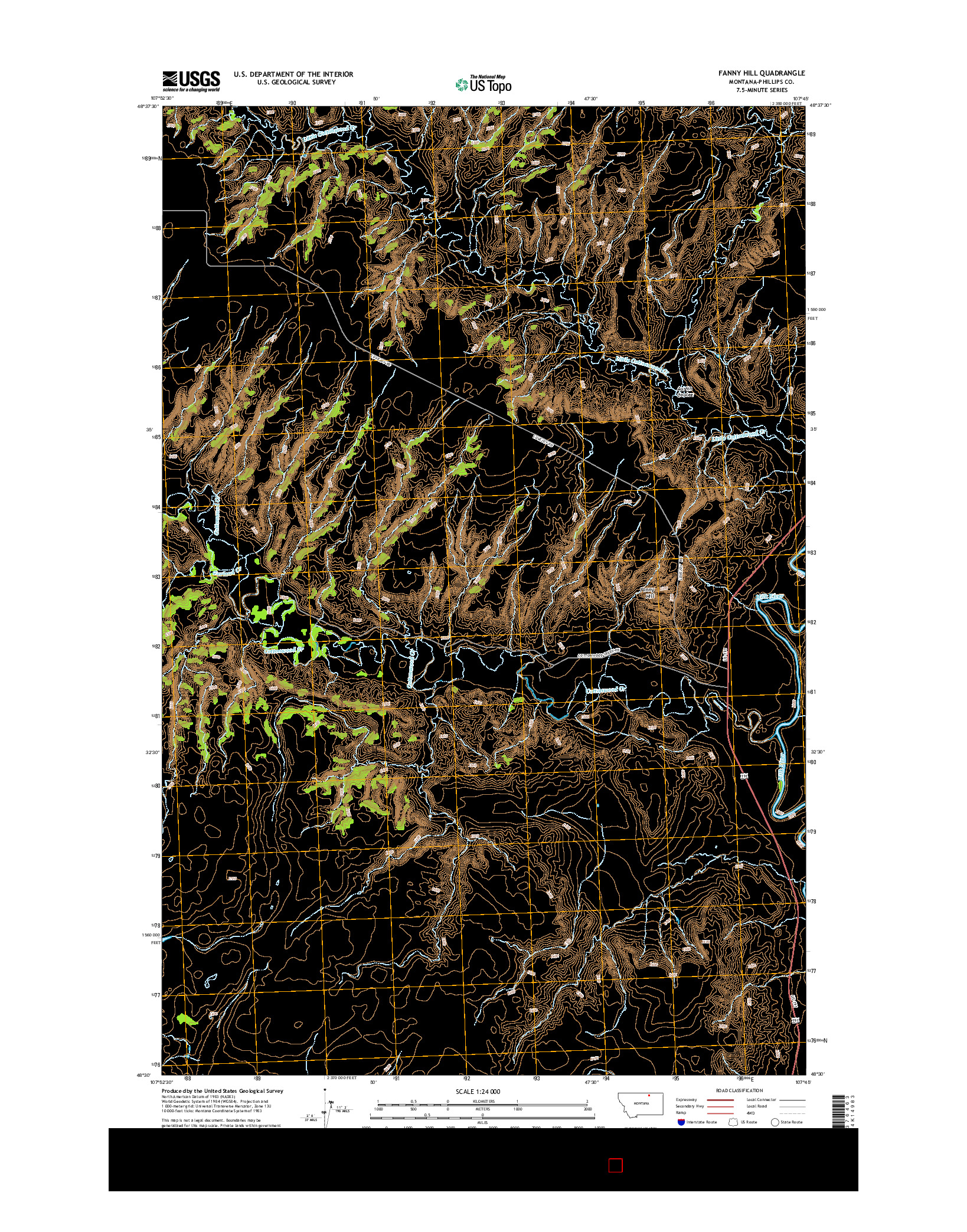 USGS US TOPO 7.5-MINUTE MAP FOR FANNY HILL, MT 2014