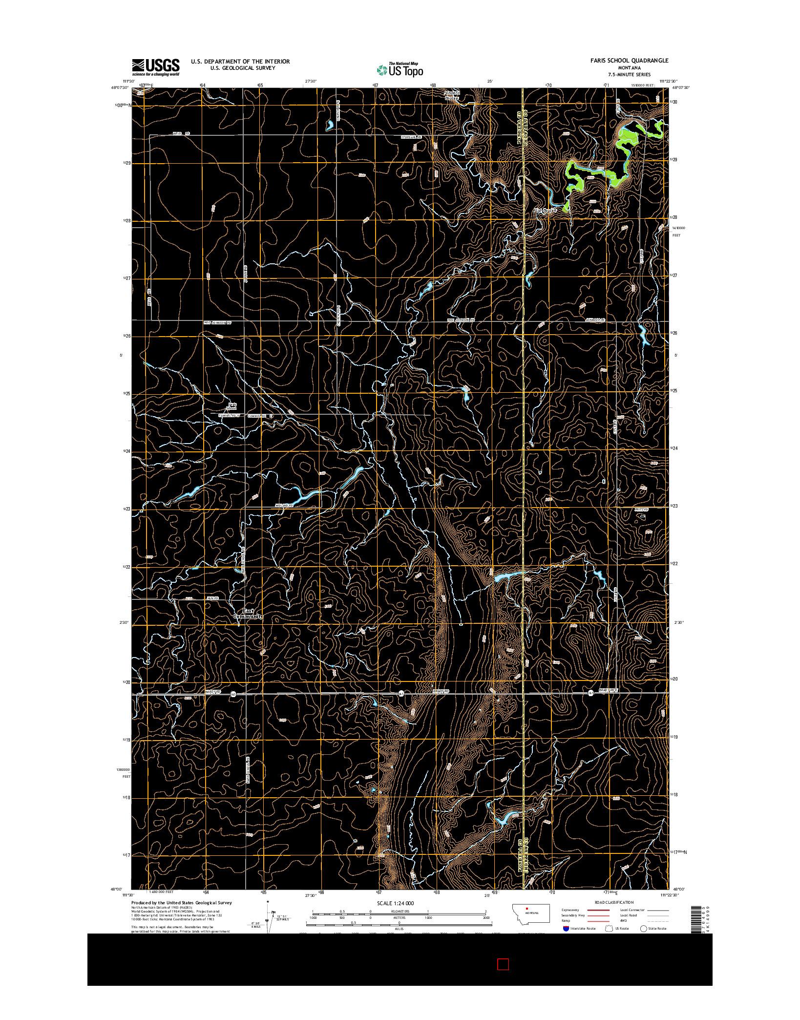 USGS US TOPO 7.5-MINUTE MAP FOR FARIS SCHOOL, MT 2014