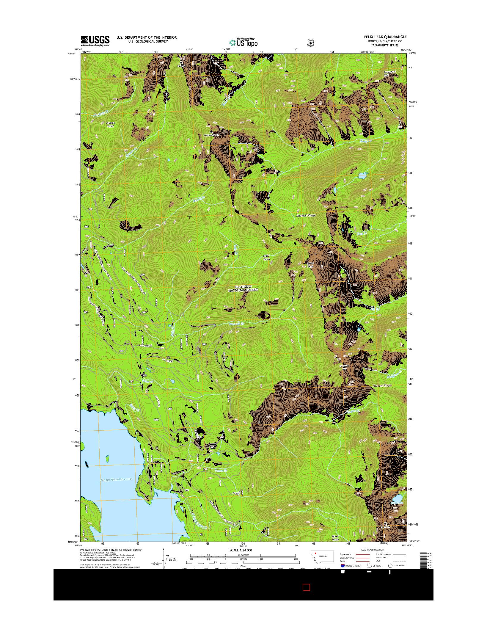 USGS US TOPO 7.5-MINUTE MAP FOR FELIX PEAK, MT 2014
