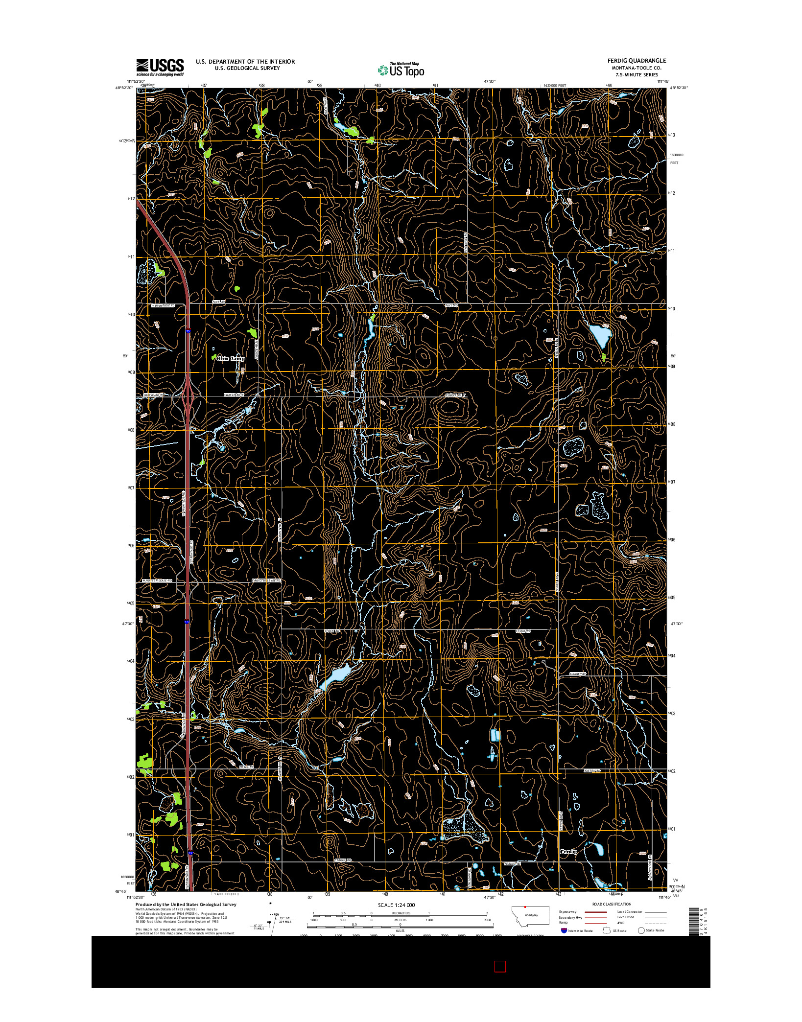 USGS US TOPO 7.5-MINUTE MAP FOR FERDIG, MT 2014