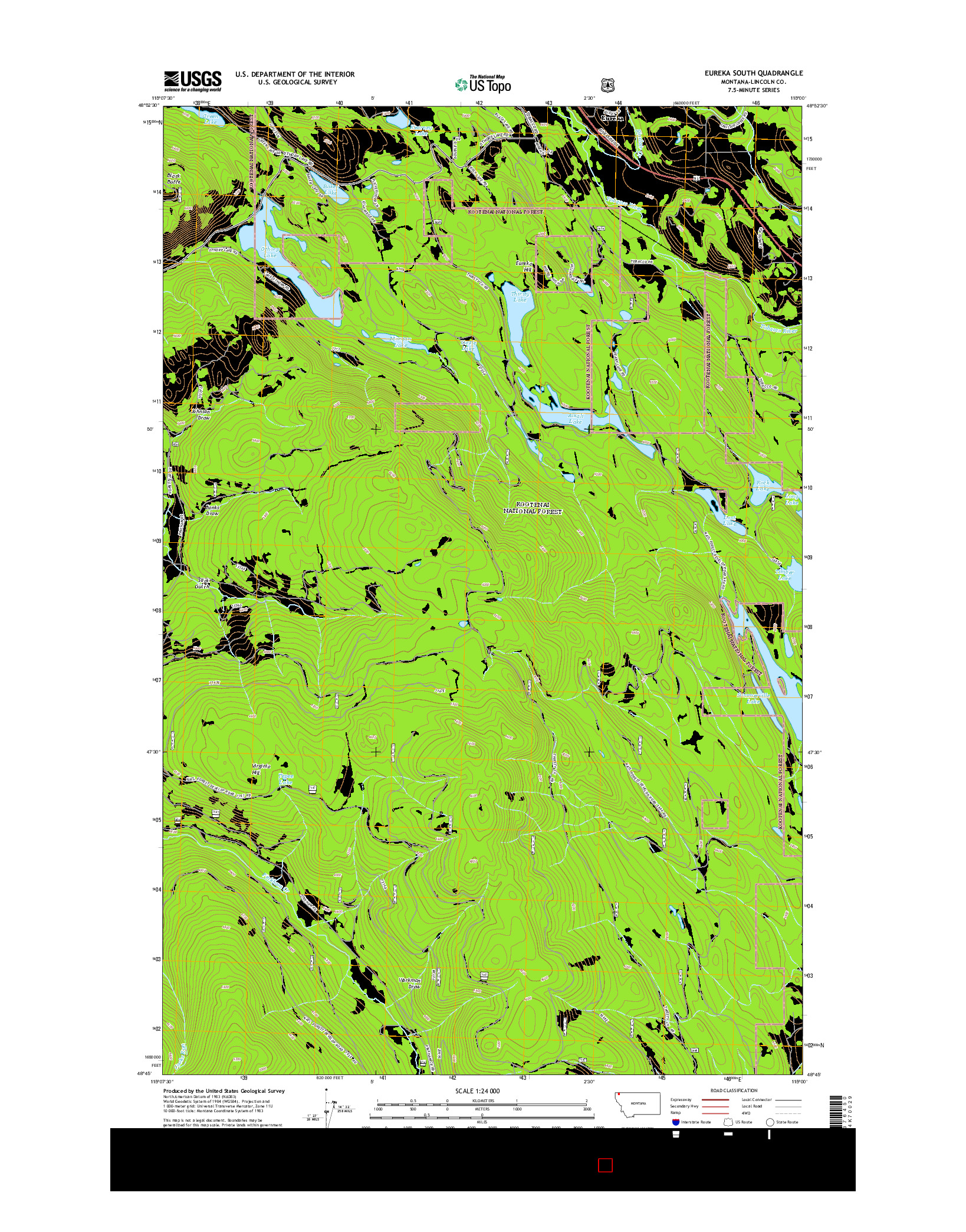 USGS US TOPO 7.5-MINUTE MAP FOR EUREKA SOUTH, MT 2014