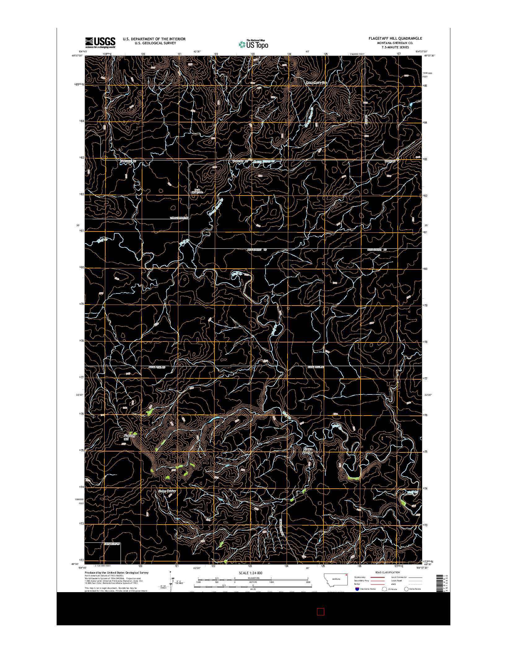 USGS US TOPO 7.5-MINUTE MAP FOR FLAGSTAFF HILL, MT 2014