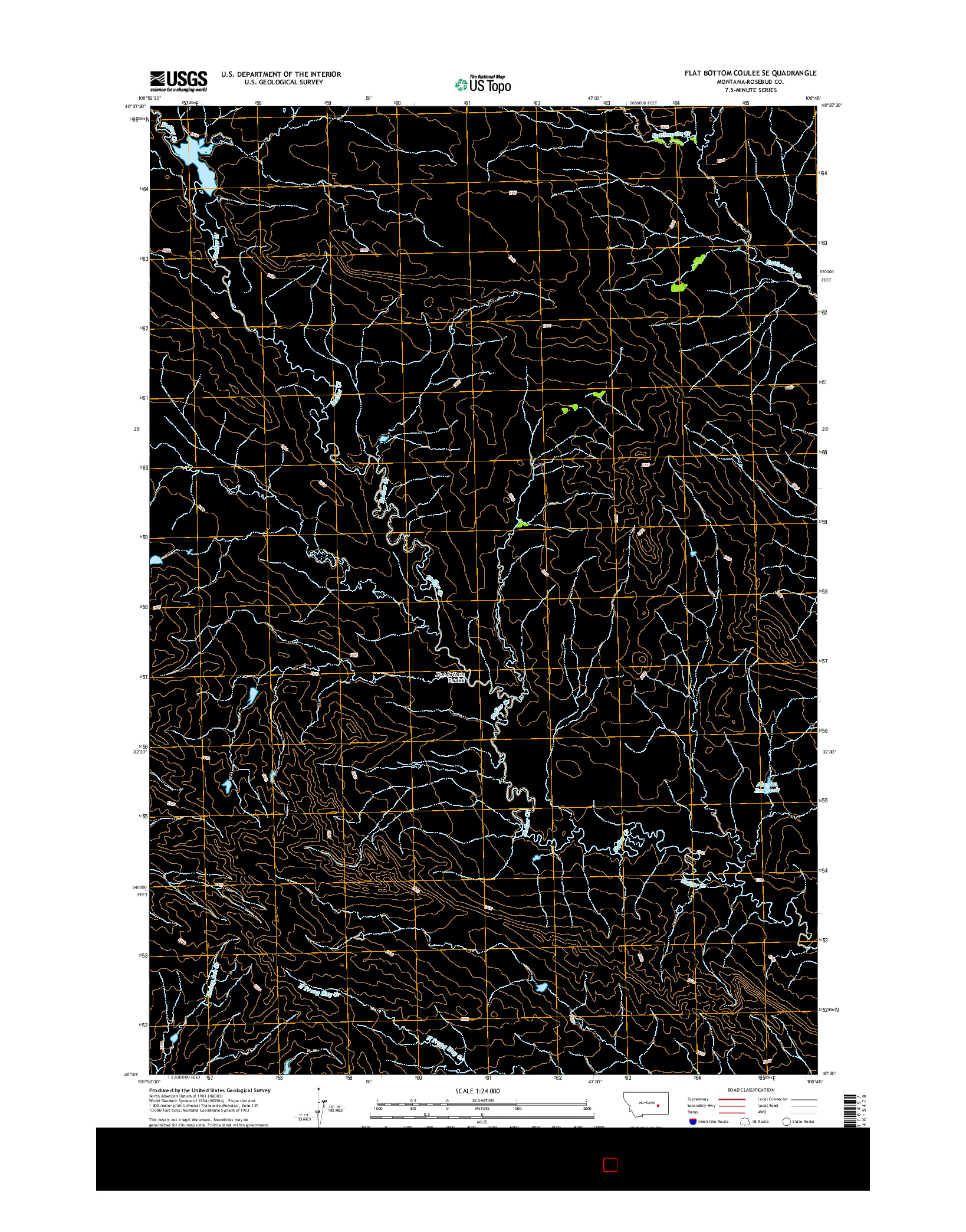 USGS US TOPO 7.5-MINUTE MAP FOR FLAT BOTTOM COULEE SE, MT 2014