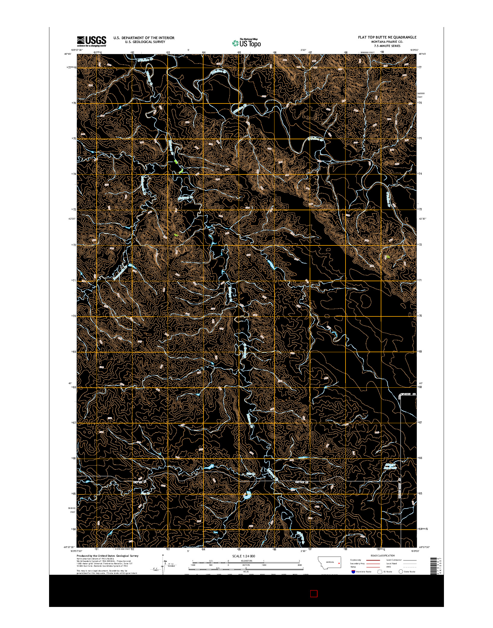 USGS US TOPO 7.5-MINUTE MAP FOR FLAT TOP BUTTE NE, MT 2014