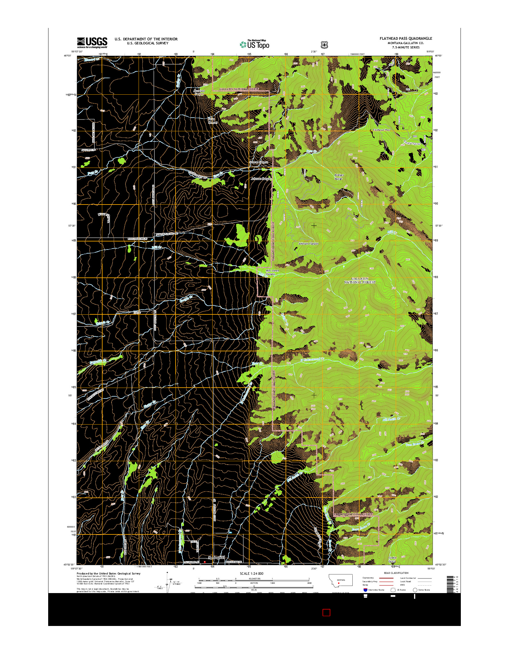 USGS US TOPO 7.5-MINUTE MAP FOR FLATHEAD PASS, MT 2014