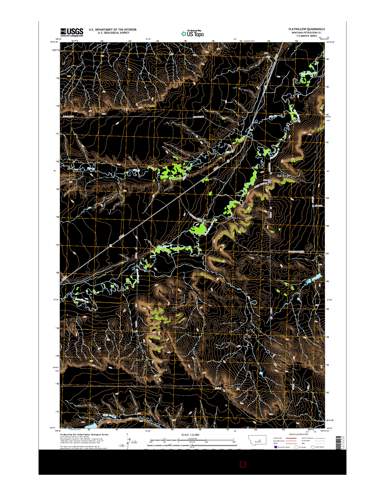 USGS US TOPO 7.5-MINUTE MAP FOR FLATWILLOW, MT 2014