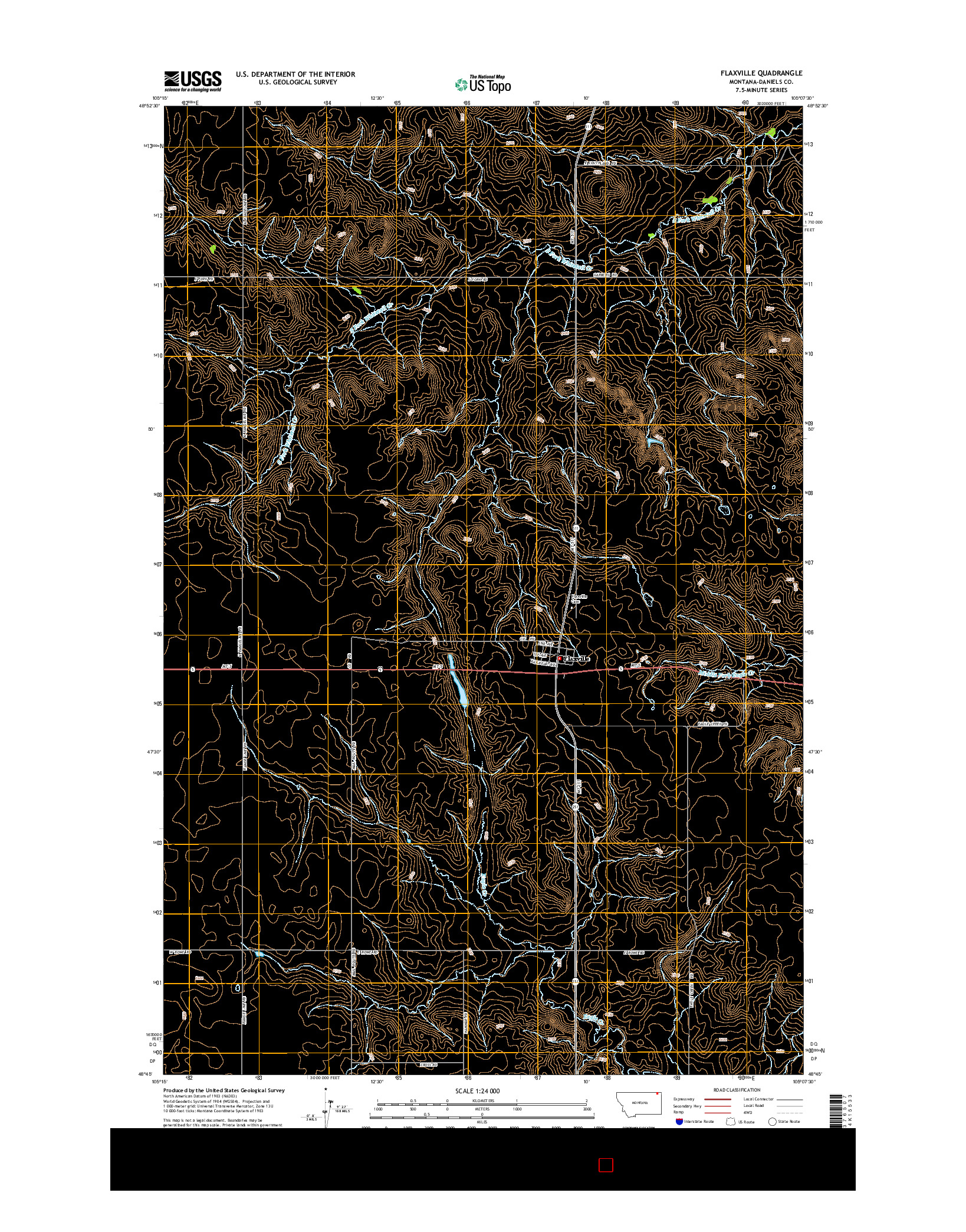 USGS US TOPO 7.5-MINUTE MAP FOR FLAXVILLE, MT 2014