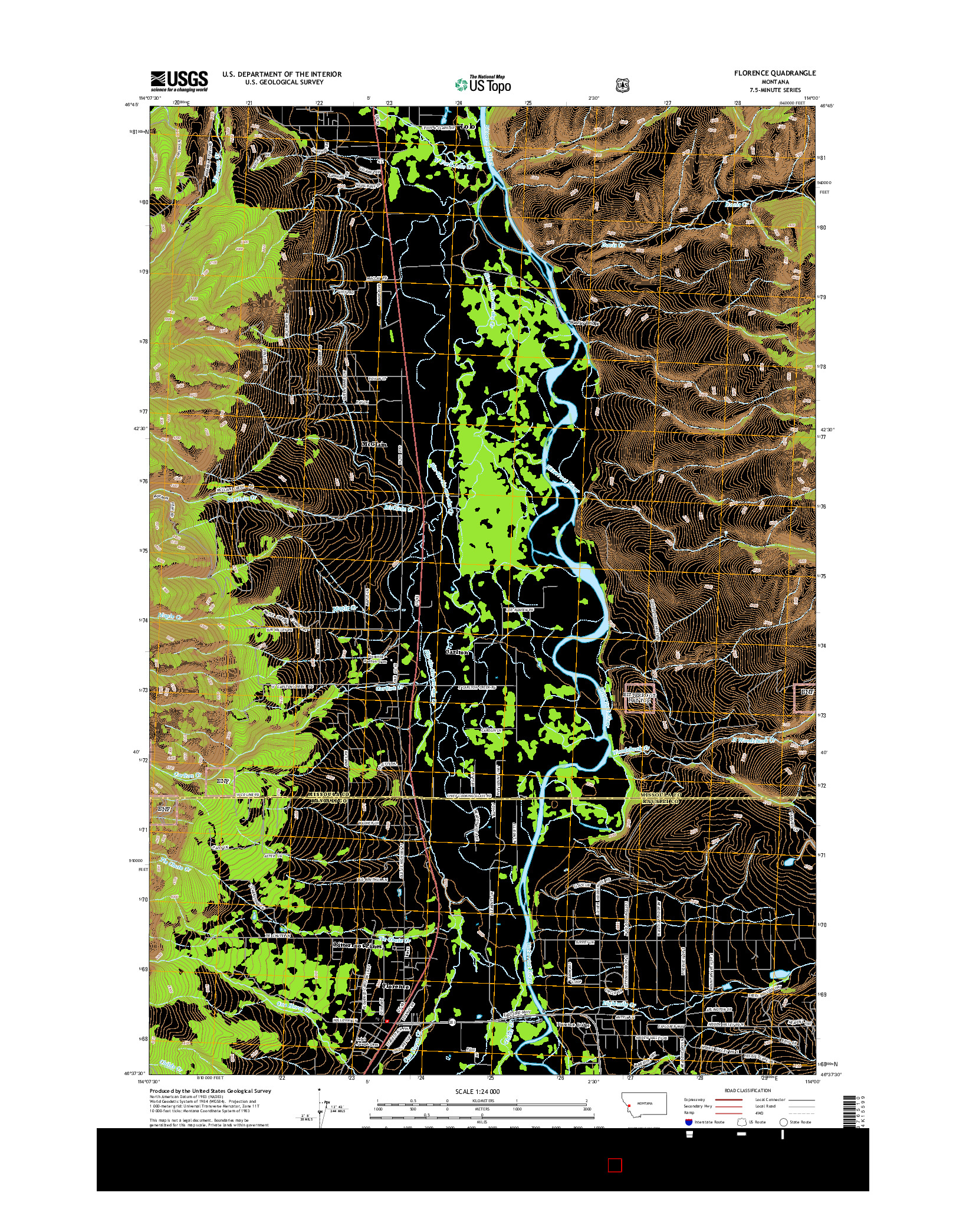 USGS US TOPO 7.5-MINUTE MAP FOR FLORENCE, MT 2014