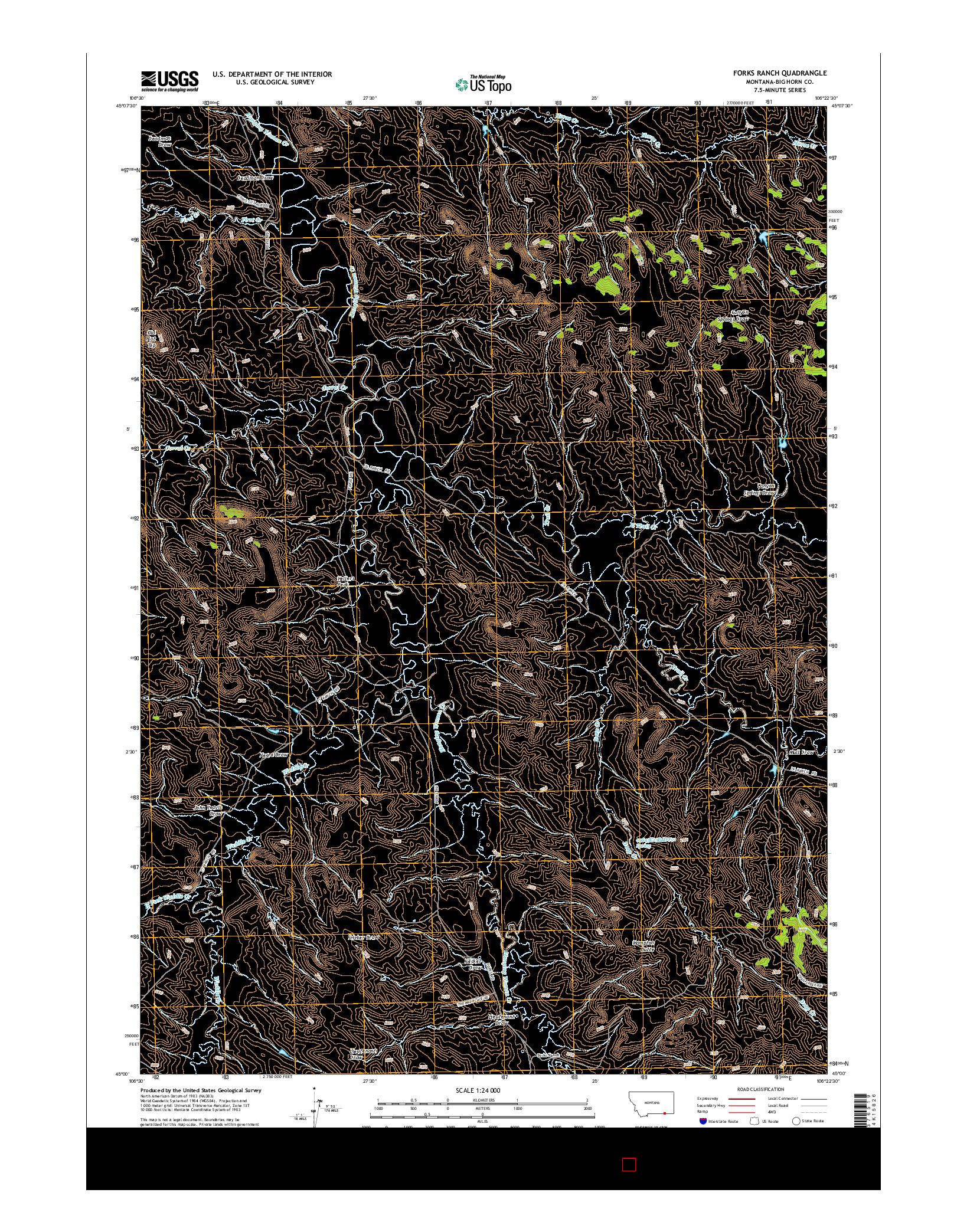 USGS US TOPO 7.5-MINUTE MAP FOR FORKS RANCH, MT 2014