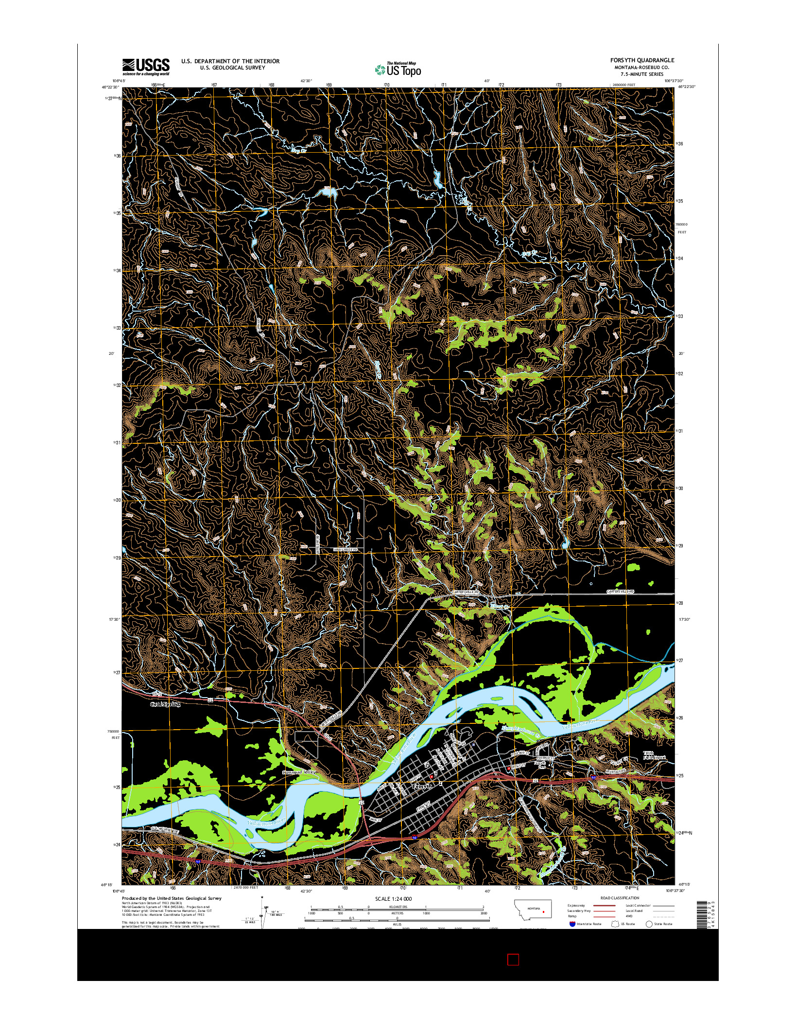 USGS US TOPO 7.5-MINUTE MAP FOR FORSYTH, MT 2014