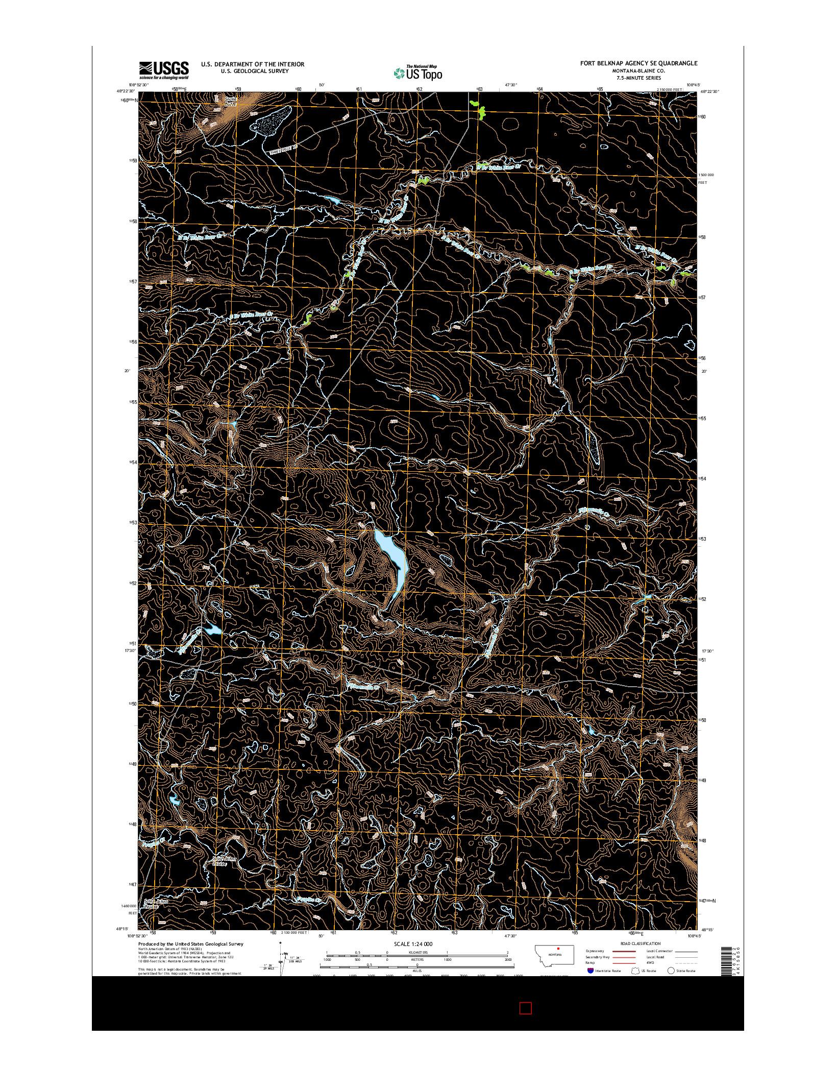 USGS US TOPO 7.5-MINUTE MAP FOR FORT BELKNAP AGENCY SE, MT 2014