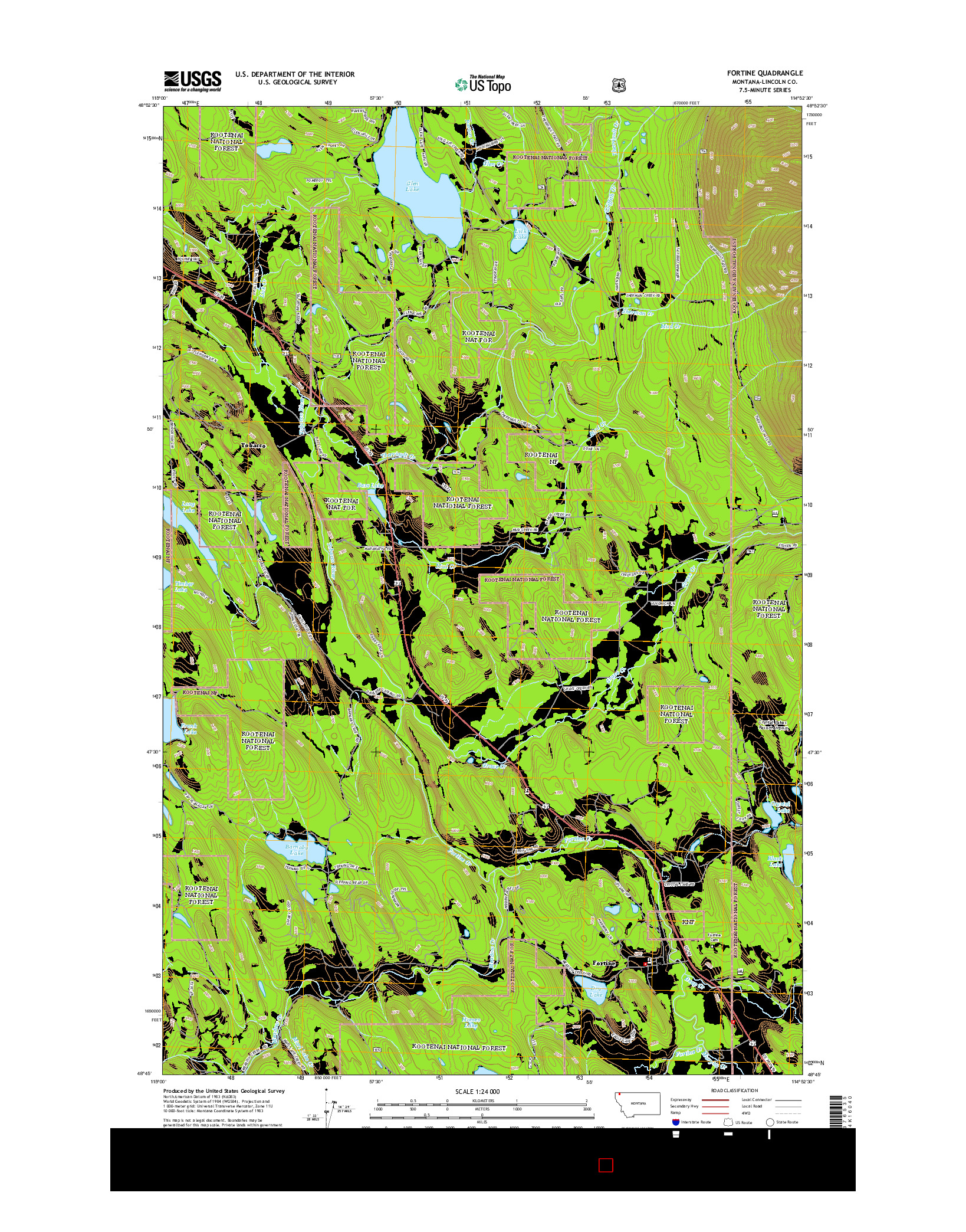 USGS US TOPO 7.5-MINUTE MAP FOR FORTINE, MT 2014