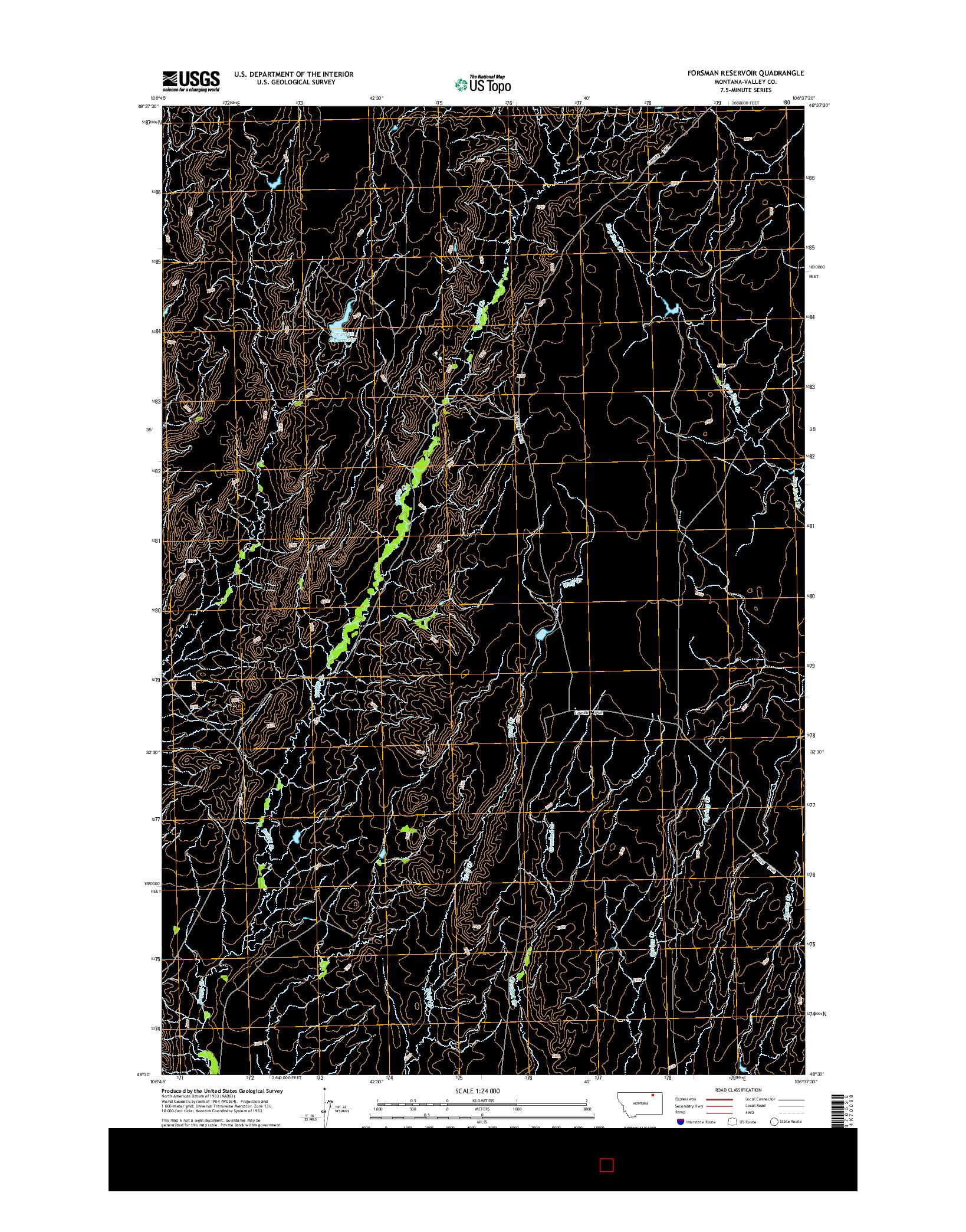 USGS US TOPO 7.5-MINUTE MAP FOR FORSMAN RESERVOIR, MT 2014