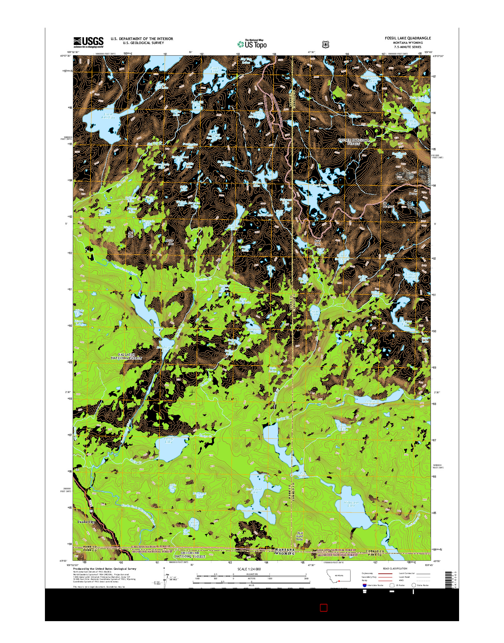 USGS US TOPO 7.5-MINUTE MAP FOR FOSSIL LAKE, MT-WY 2014