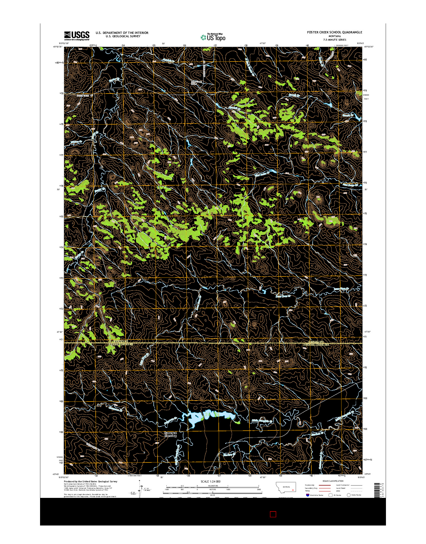 USGS US TOPO 7.5-MINUTE MAP FOR FOSTER CREEK SCHOOL, MT 2014