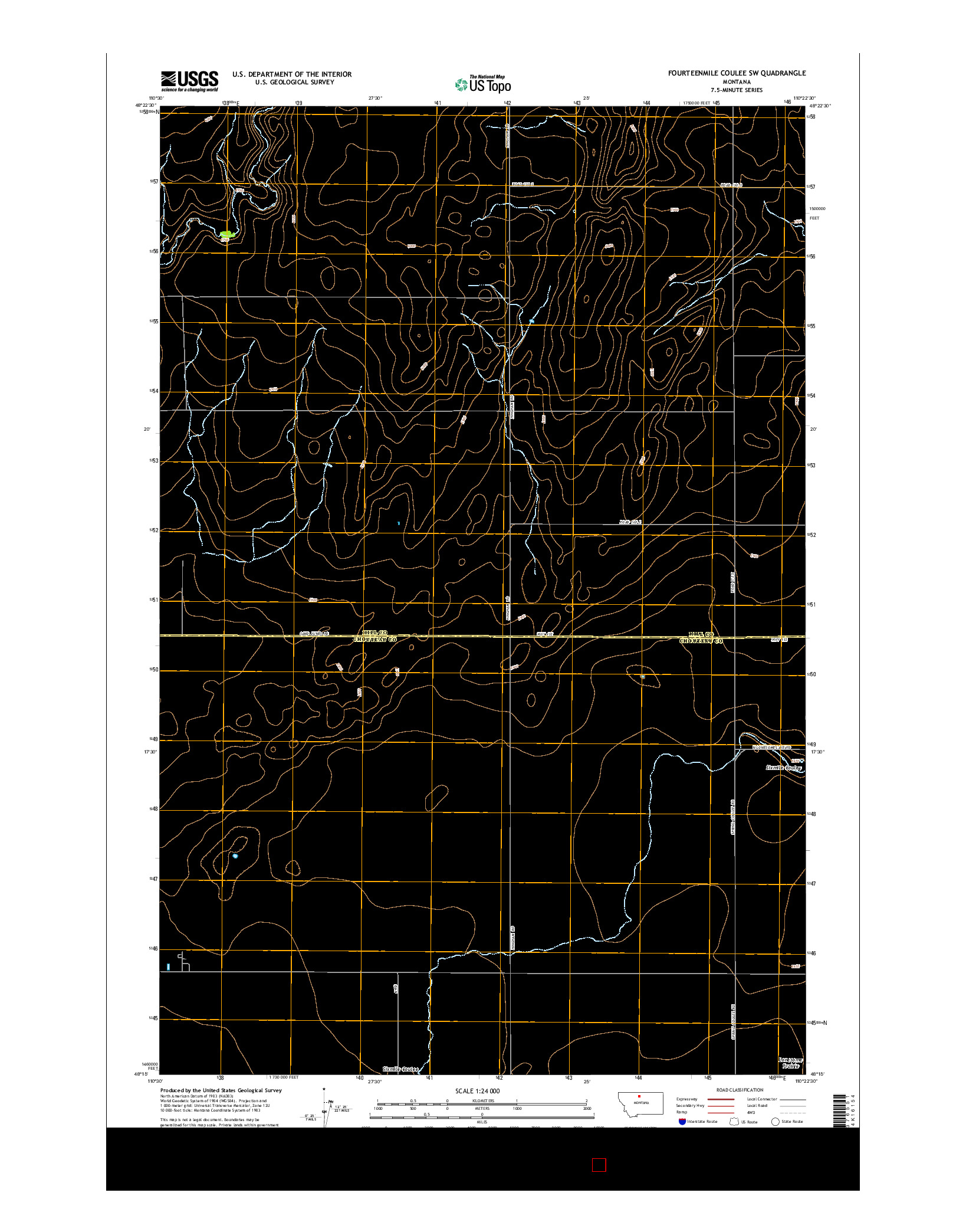 USGS US TOPO 7.5-MINUTE MAP FOR FOURTEENMILE COULEE SW, MT 2014