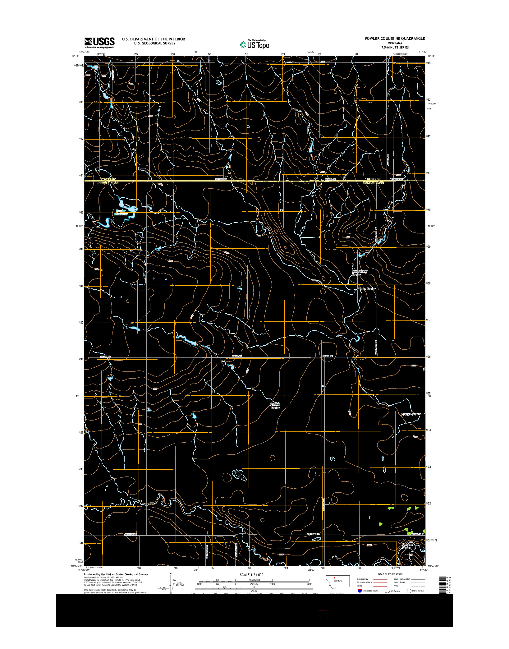 USGS US TOPO 7.5-MINUTE MAP FOR FOWLER COULEE NE, MT 2014