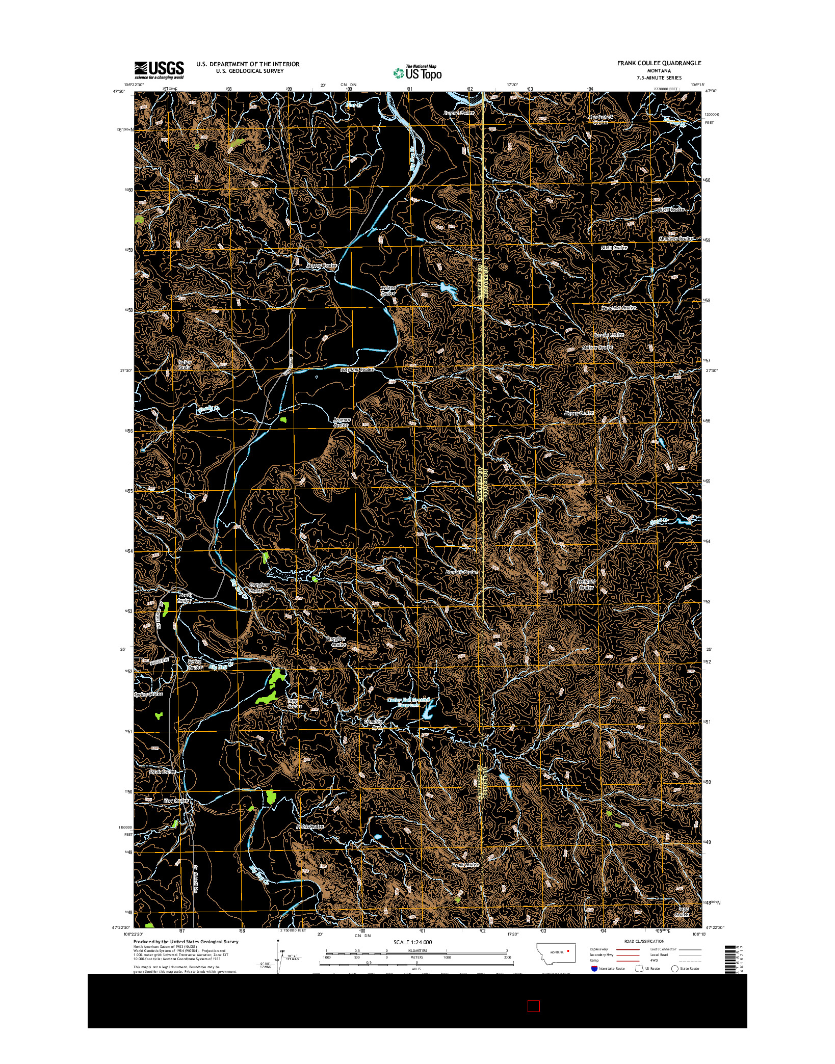 USGS US TOPO 7.5-MINUTE MAP FOR FRANK COULEE, MT 2014