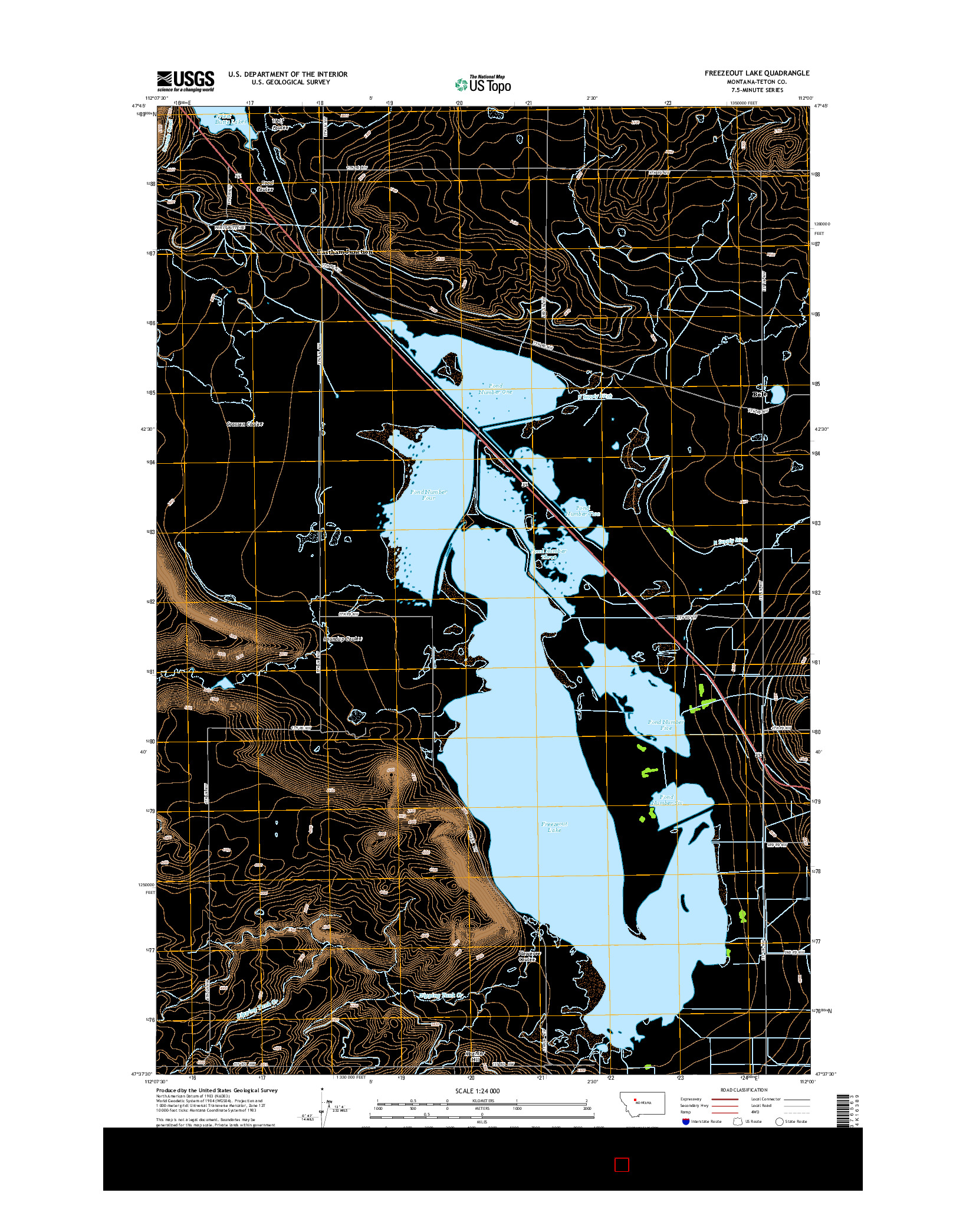 USGS US TOPO 7.5-MINUTE MAP FOR FREEZEOUT LAKE, MT 2014