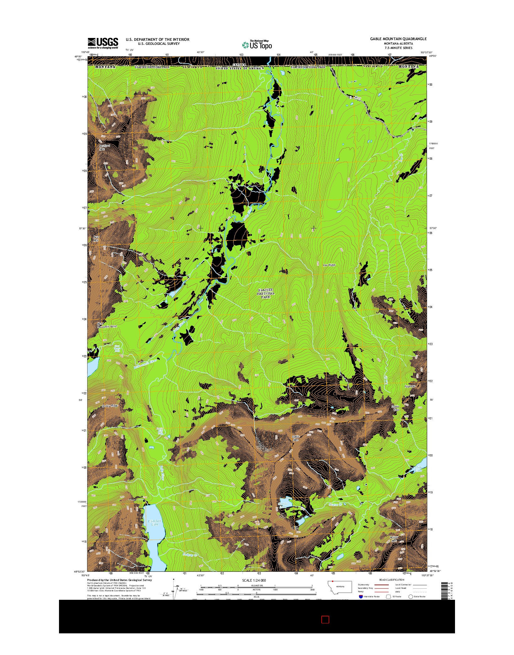 USGS US TOPO 7.5-MINUTE MAP FOR GABLE MOUNTAIN, MT-AB 2014